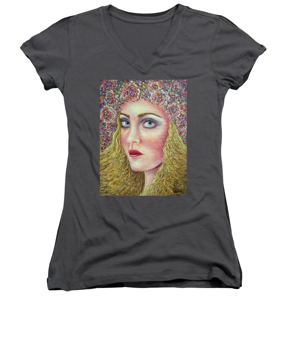 Woman Women's V-Neck T-Shirt featuring the painting  The Flower Girl by Natalie Holland