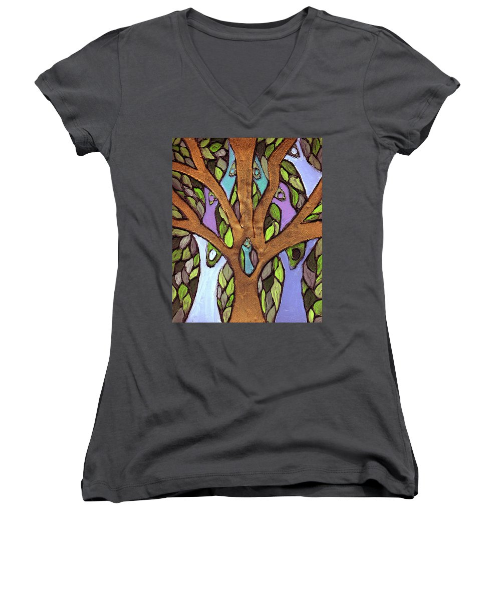 Family Women's V-Neck T-Shirt featuring the painting All For One by Wayne Potrafka