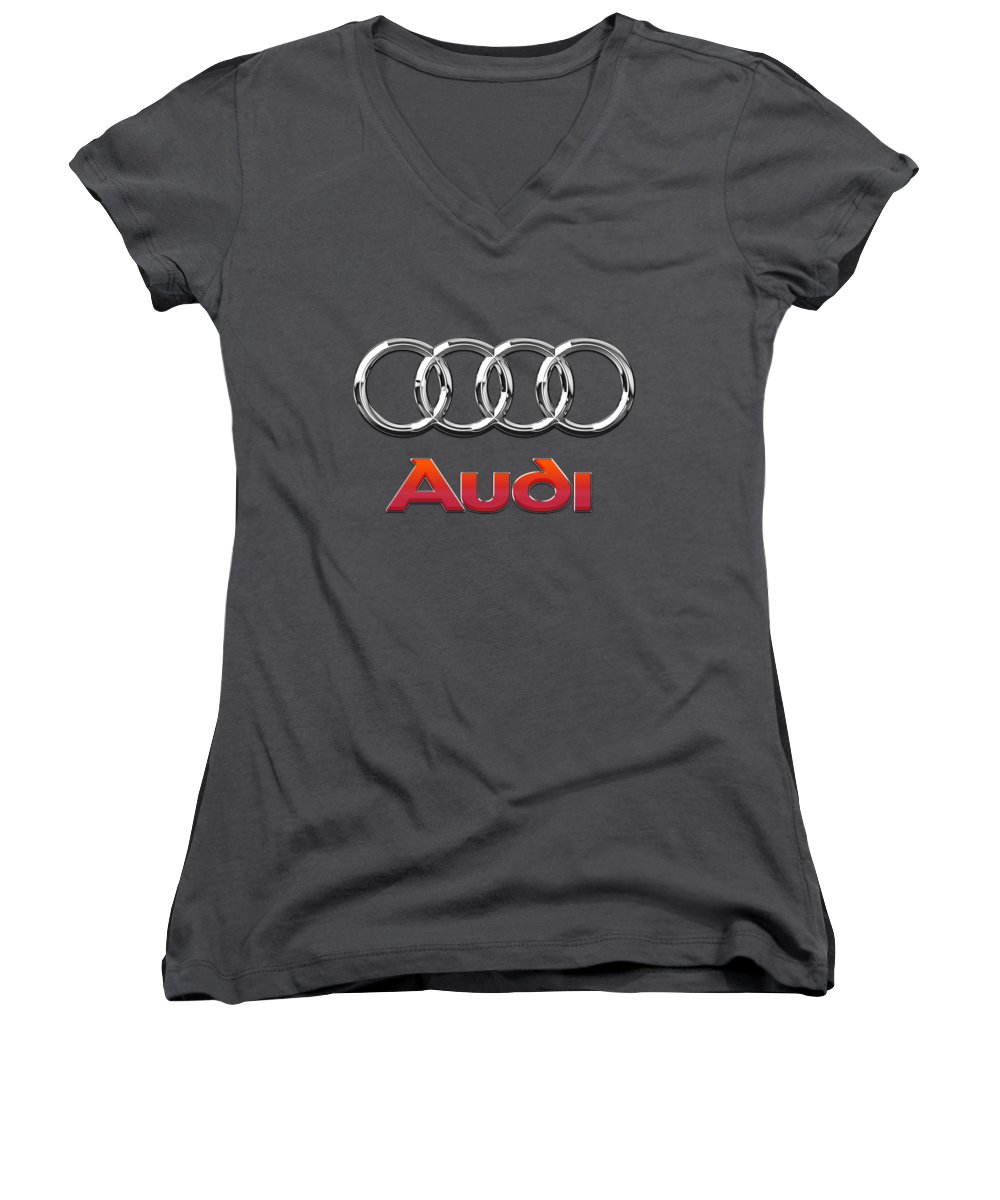 Wheels Of Fortune By Serge Averbukh Women's V-Neck featuring the photograph Audi - 3d Badge On Red by Serge Averbukh