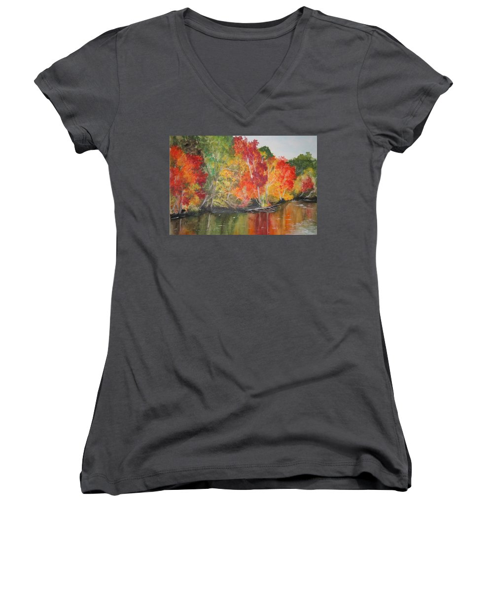 Autumn Women's V-Neck T-Shirt featuring the painting Autumn Splendor by Jean Blackmer