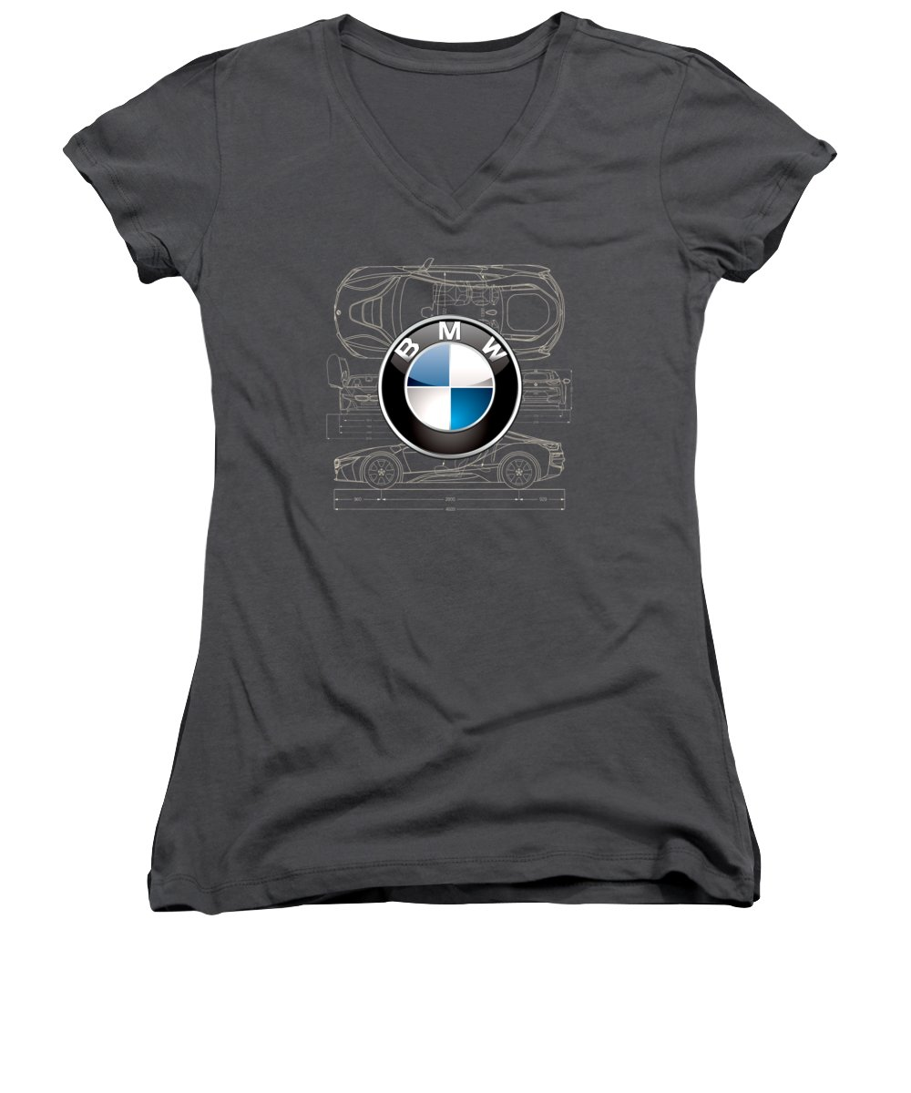 �wheels Of Fortune� By Serge Averbukh Women's V-Neck featuring the photograph B M W 3 D Badge Over B M W I8 Blueprint by Serge Averbukh
