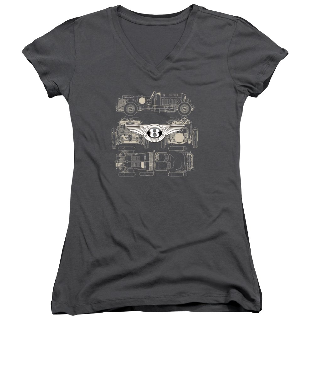 �wheels Of Fortune� By Serge Averbukh Women's V-Neck featuring the photograph Bentley - 3 D Badge Over 1930 Bentley 4.5 Liter Blower Vintage Blueprint by Serge Averbukh