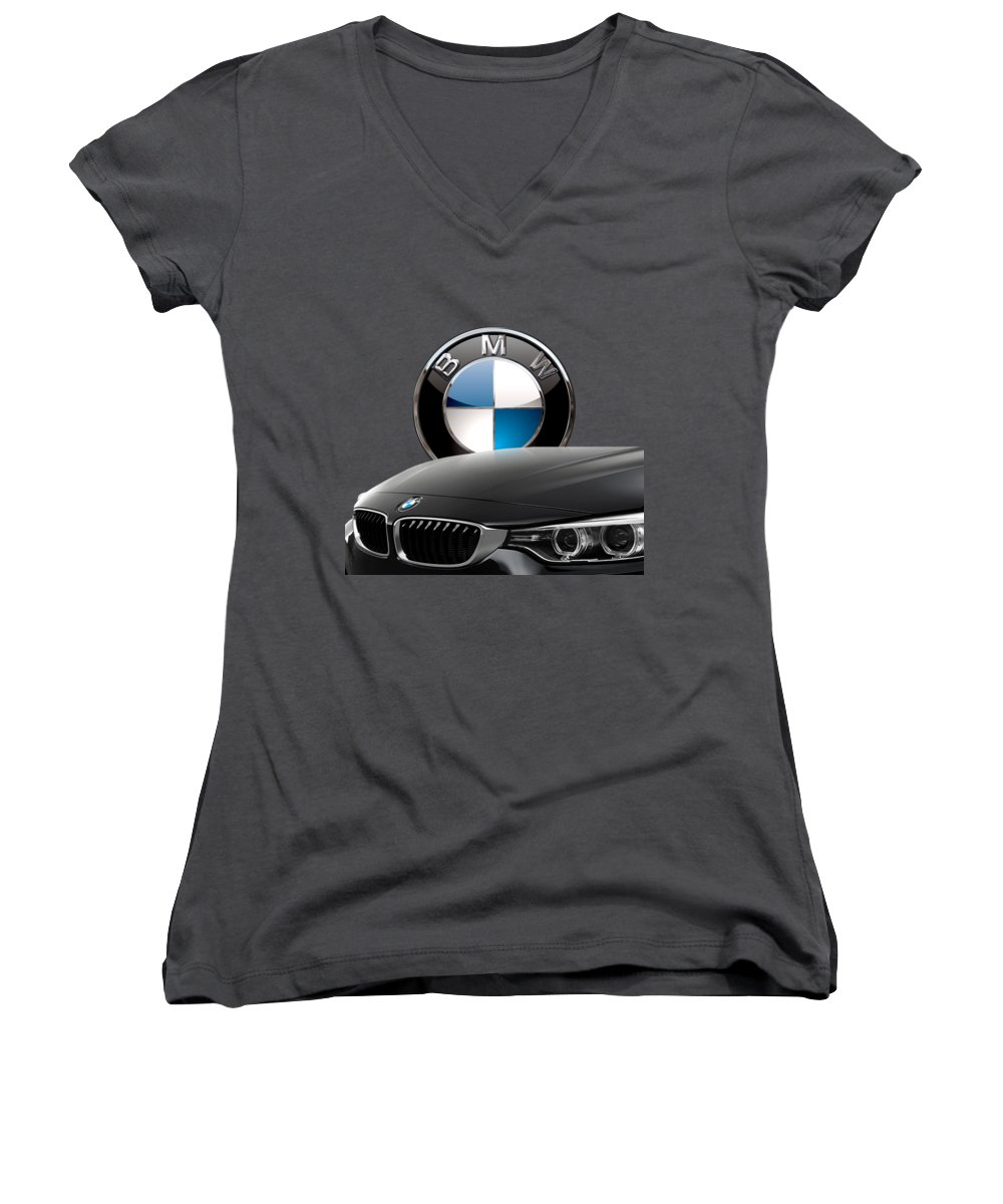 �auto Badges� Collection By Serge Averbukh Women's V-Neck T-Shirt (Junior Cut) featuring the photograph Black B M W - Front Grill Ornament And 3 D Badge On Red by Serge Averbukh
