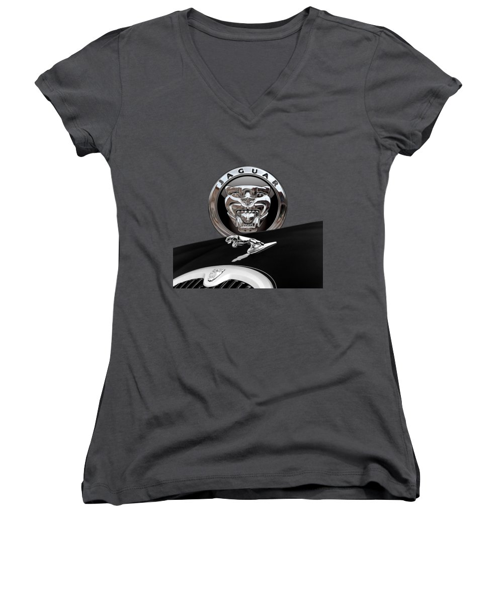 'auto Badges' Collection By Serge Averbukh Women's V-Neck T-Shirt featuring the photograph Black Jaguar - Hood Ornaments And 3 D Badge On Red by Serge Averbukh