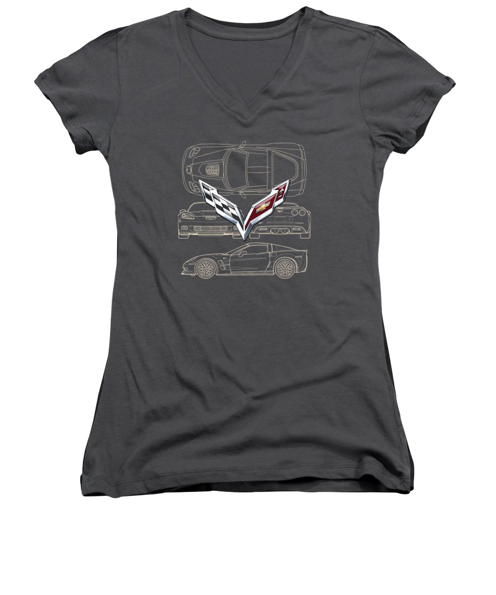 �wheels Of Fortune� By Serge Averbukh Women's V-Neck featuring the photograph Chevrolet Corvette 3 D Badge Over Corvette C 6 Z R 1 Blueprint by Serge Averbukh