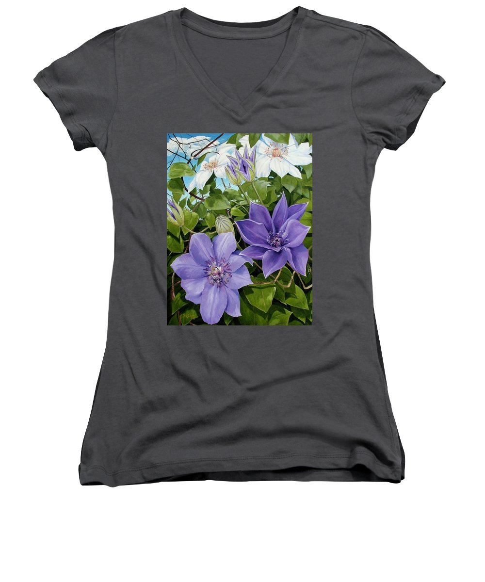 Clematis Women's V-Neck T-Shirt featuring the painting Clematis 2 by Jerrold Carton