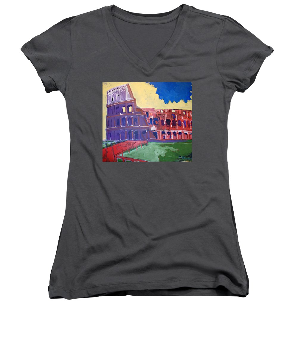 Rome Women's V-Neck T-Shirt featuring the painting Colosseum by Kurt Hausmann