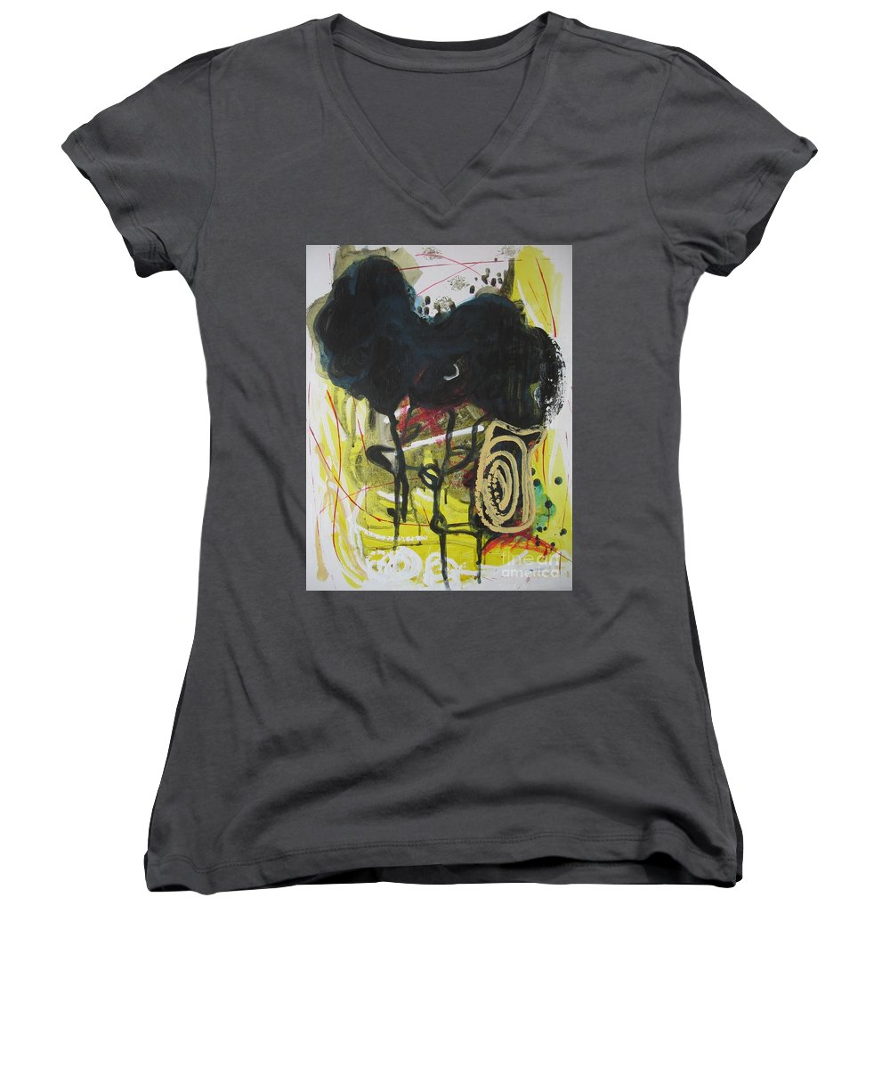 Abstract Paintings Women's V-Neck (Athletic Fit) featuring the painting Crescent2 by Seon-Jeong Kim