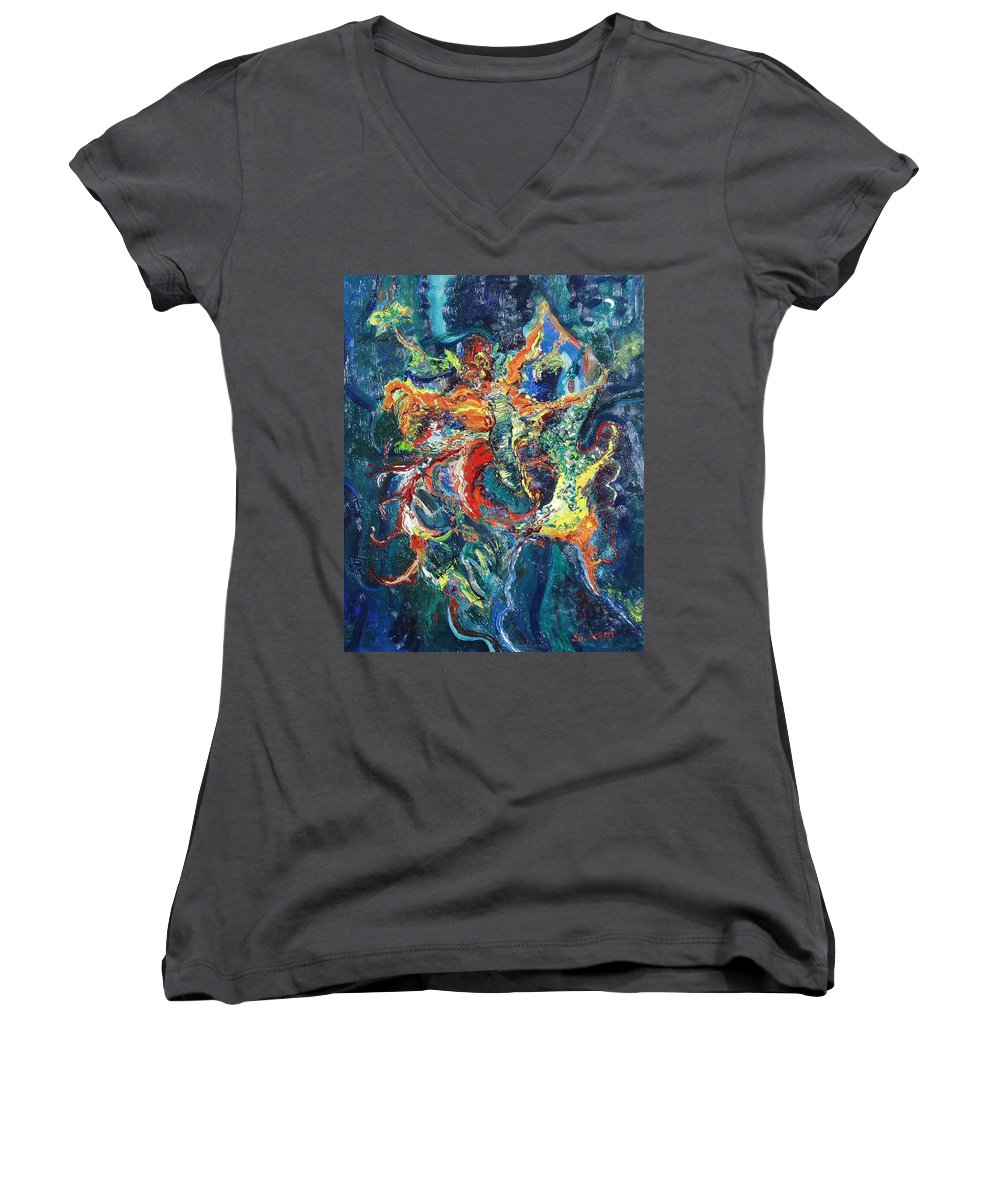 Butterfly Paintings Women's V-Neck T-Shirt featuring the painting Dancing Butterflies by Seon-Jeong Kim