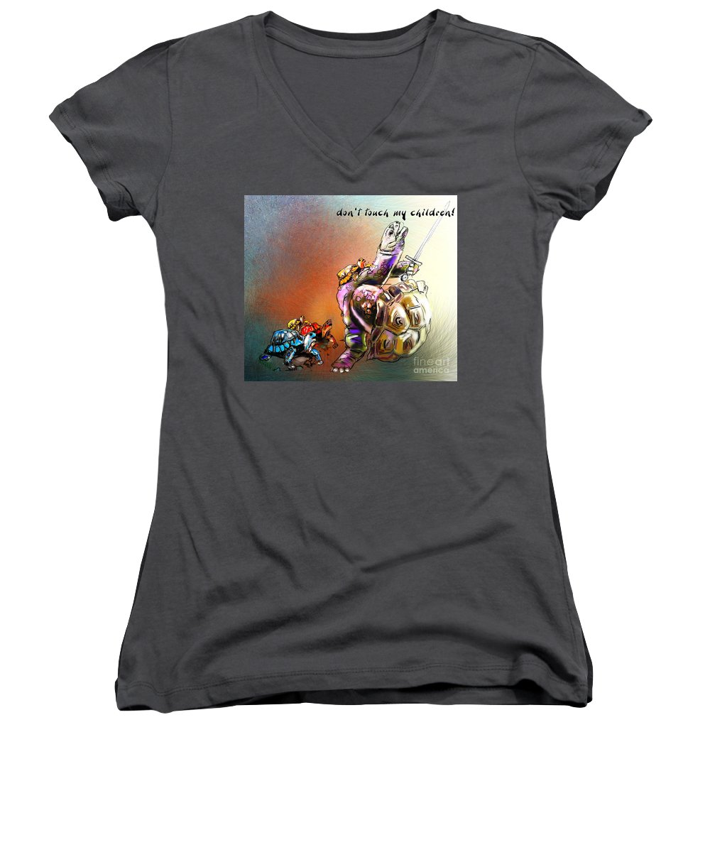 Turtle Painting Women's V-Neck T-Shirt featuring the digital art Don by Miki De Goodaboom