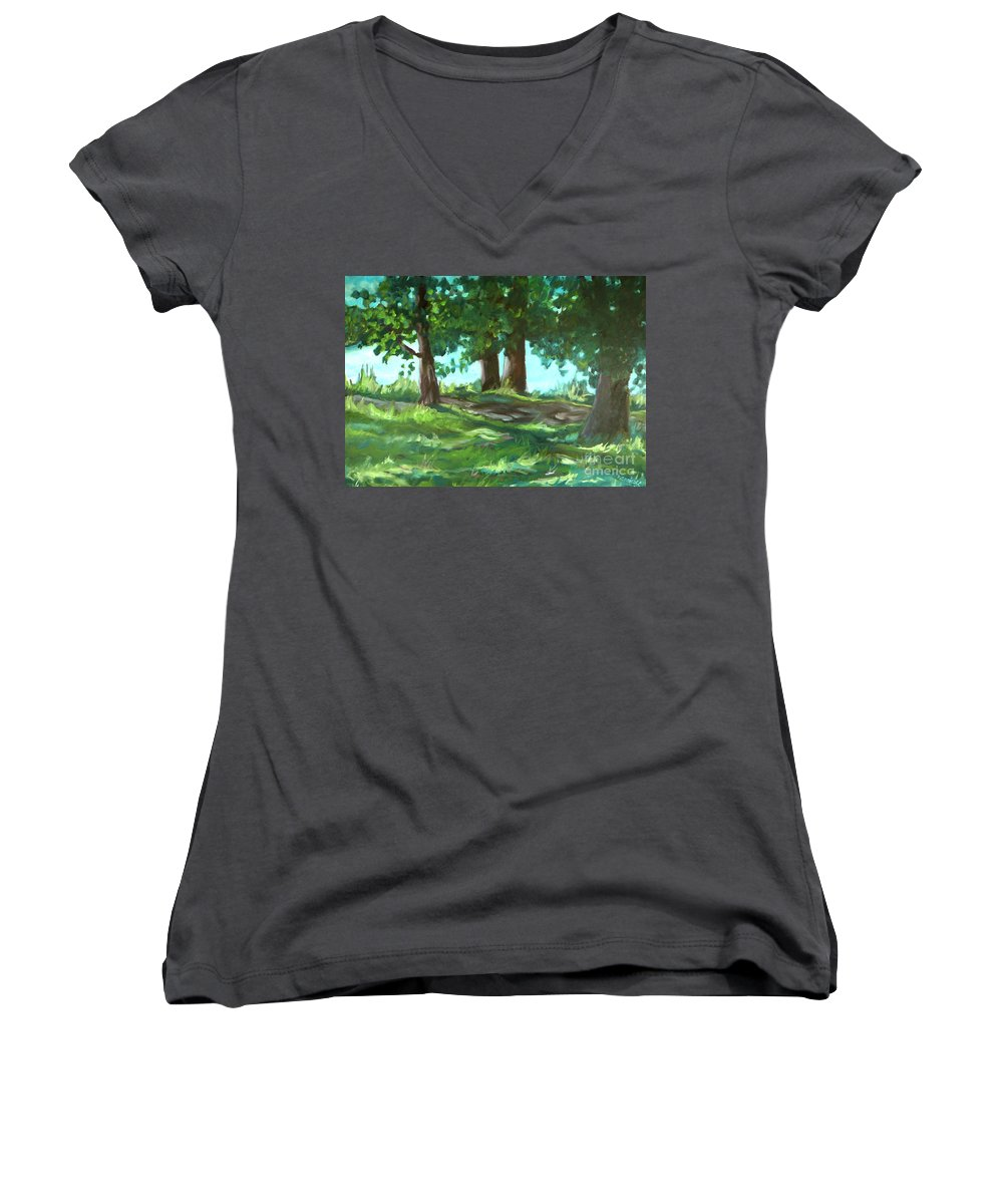 Expressionist Landscape Women's V-Neck T-Shirt featuring the painting Dreaming On Fellows Lake by Jan Bennicoff