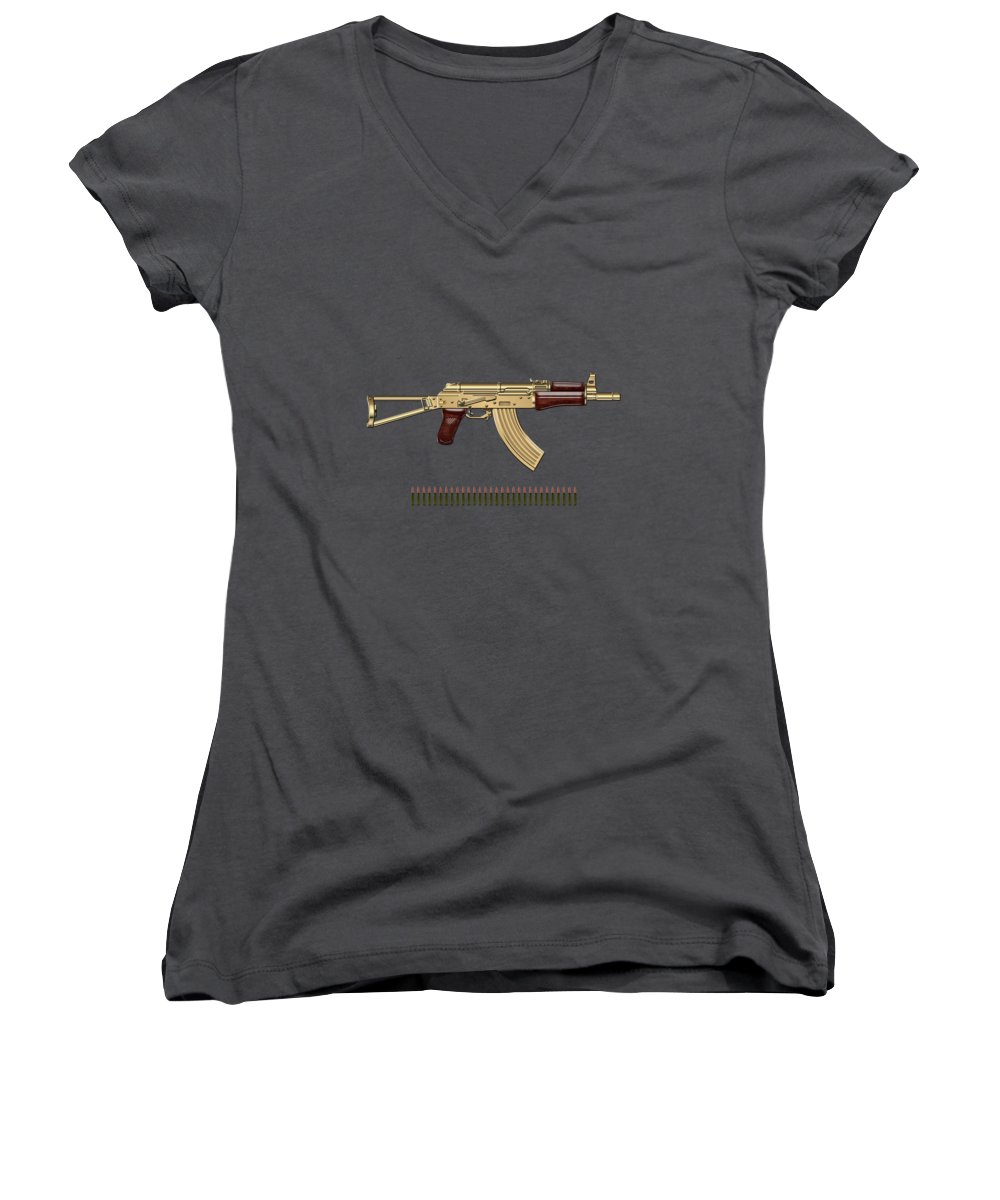 'the Armory' Collection By Serge Averbukh Women's V-Neck featuring the photograph Gold A K S-74 U Assault Rifle With 5.45x39 Rounds Over Red Velvet  by Serge Averbukh
