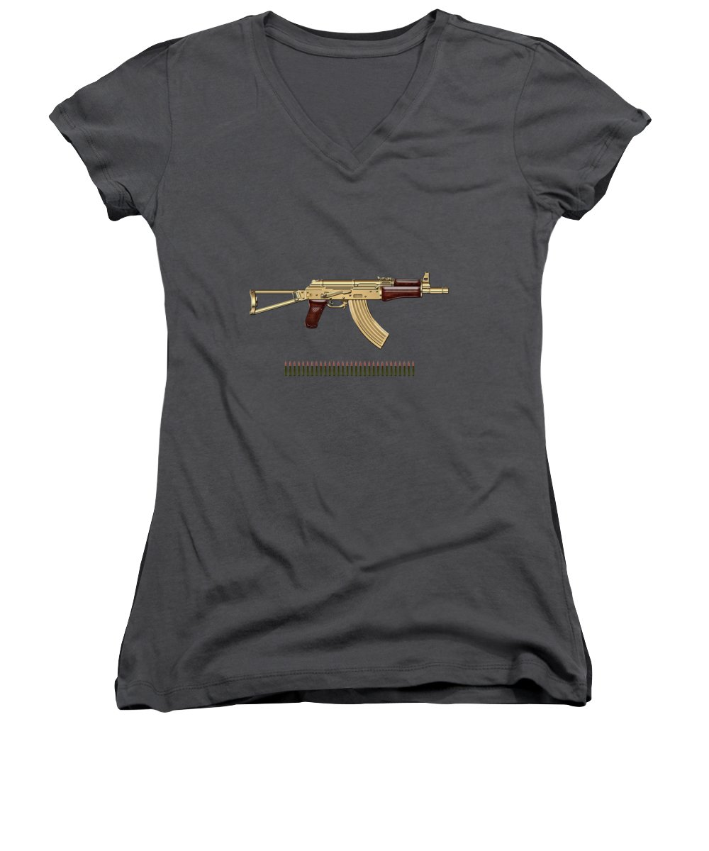 'the Armory' Collection By Serge Averbukh Women's V-Neck T-Shirt featuring the photograph Gold A K S-74 U Assault Rifle With 5.45x39 Rounds Over Red Velvet  by Serge Averbukh