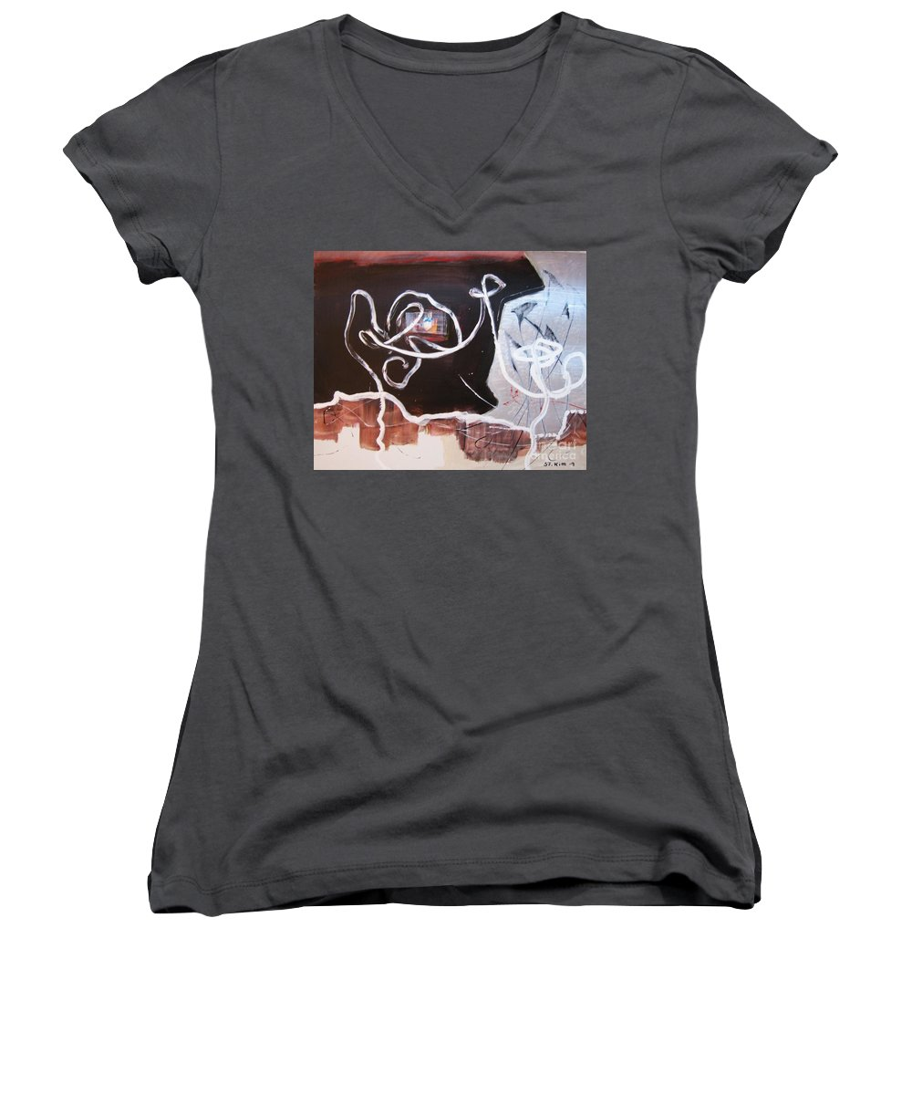 Abstract Paintings Women's V-Neck T-Shirt featuring the painting Hand In Hand by Seon-Jeong Kim