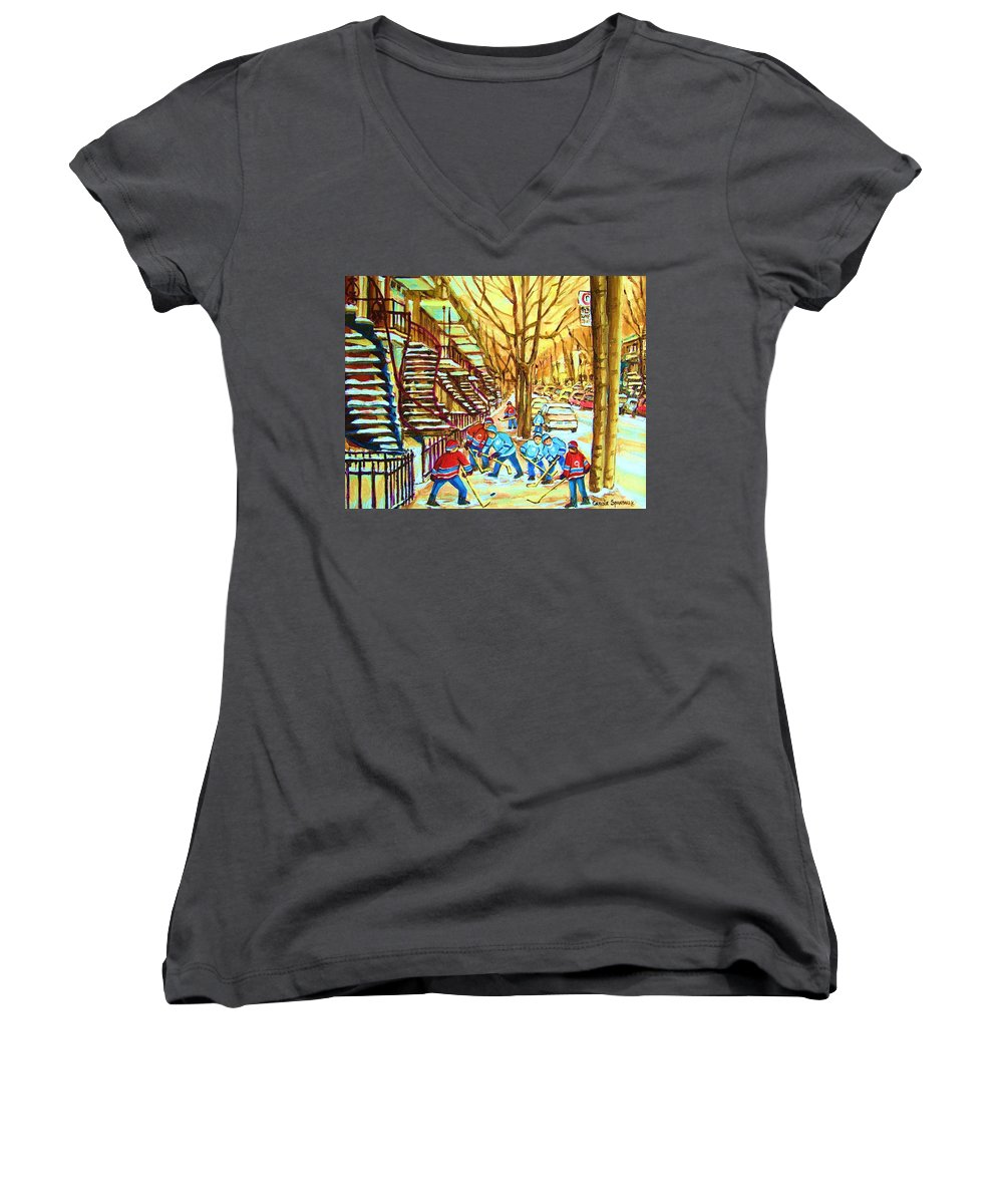 Montreal Women's V-Neck (Athletic Fit) featuring the painting Hockey Game Near Winding Staircases by Carole Spandau