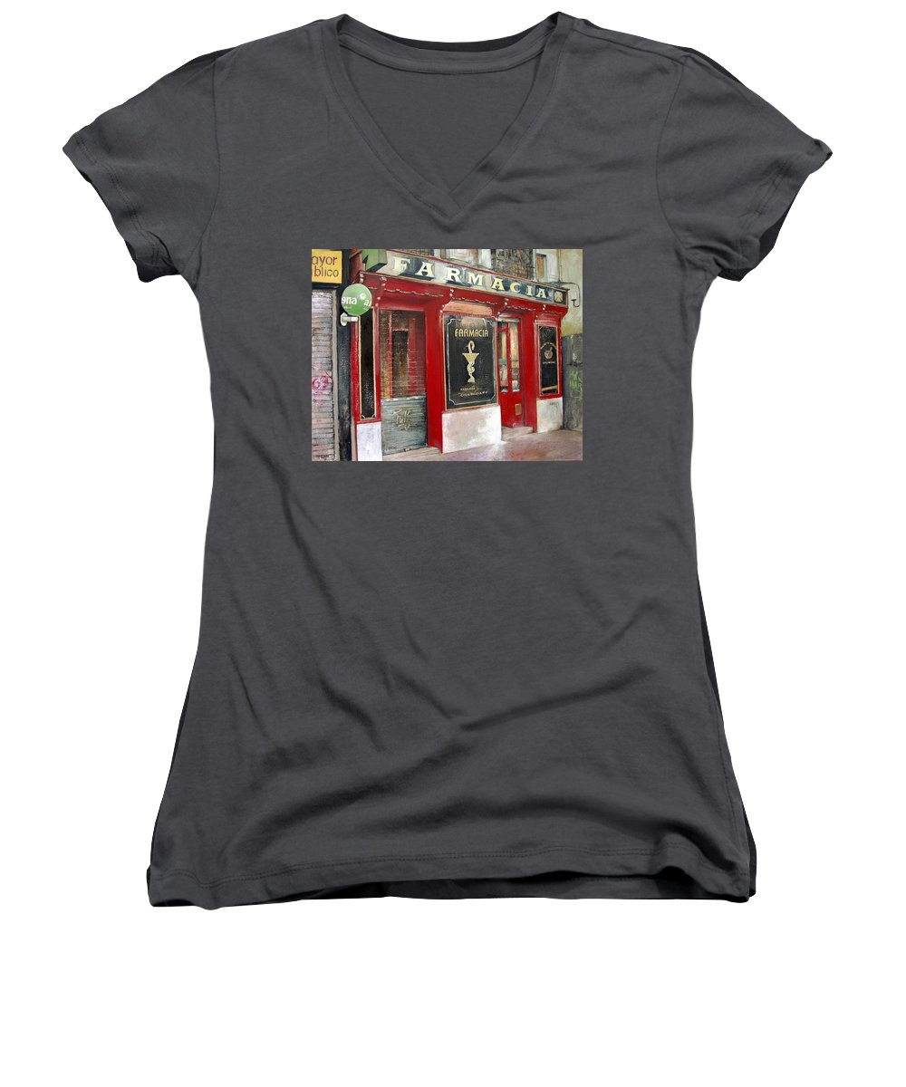 Farmacia Women's V-Neck T-Shirt featuring the painting Old Pharmacy by Tomas Castano