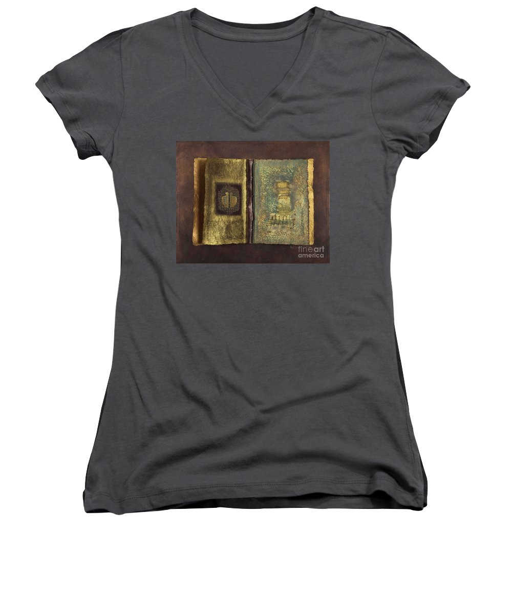 Artist-book Women's V-Neck T-Shirt featuring the mixed media Page Format No 1 Transitional Series by Kerryn Madsen-Pietsch