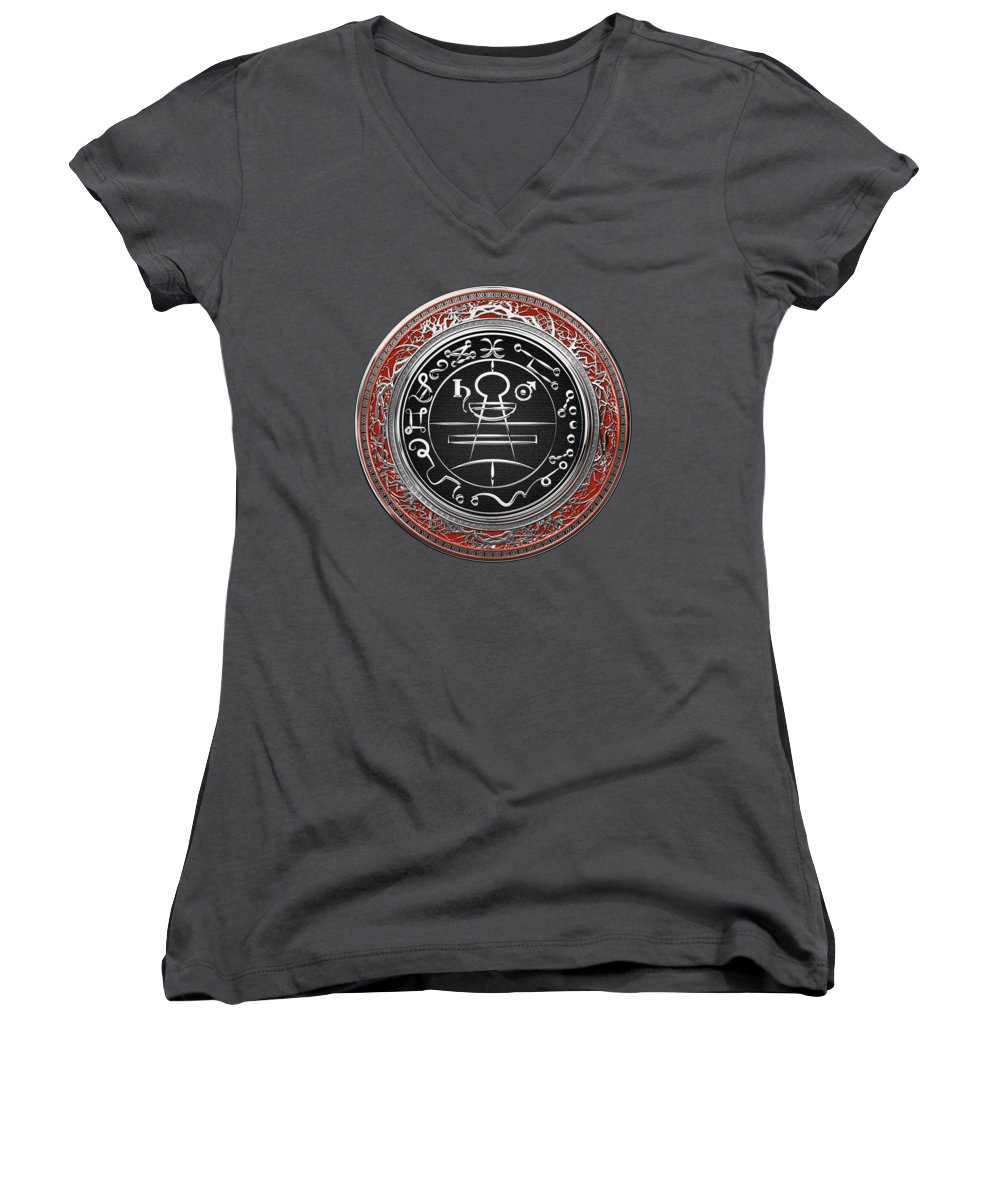 'sacred Symbols' Collection By Serge Averbukh Women's V-Neck featuring the photograph Silver Seal Of Solomon - Lesser Key Of Solomon On Red Velvet by Serge Averbukh