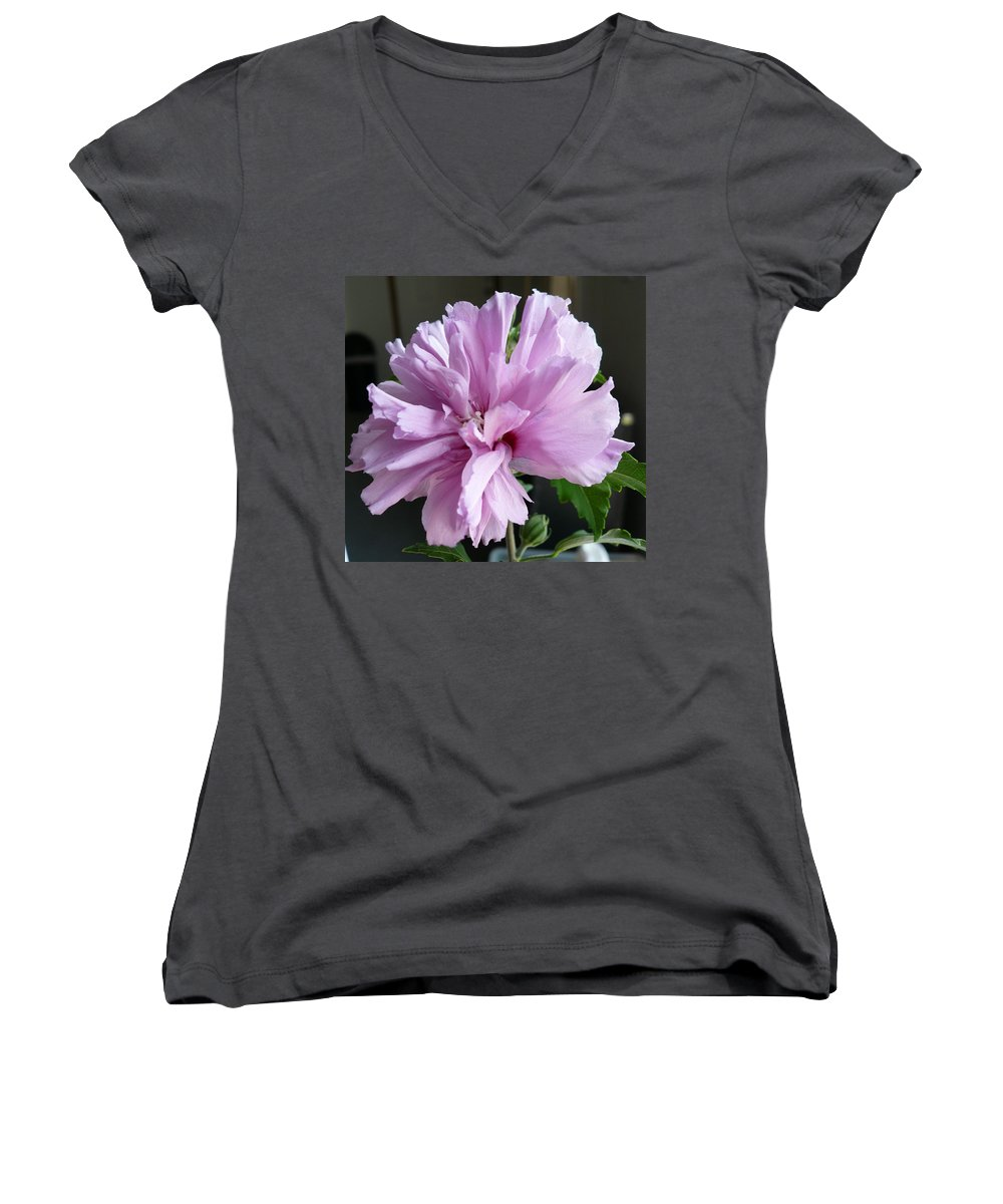 Phoyography.hibiscus Flower Floral Bloom Bush Pink Women's V-Neck (Athletic Fit) featuring the photograph So Pink by Karin Dawn Kelshall- Best
