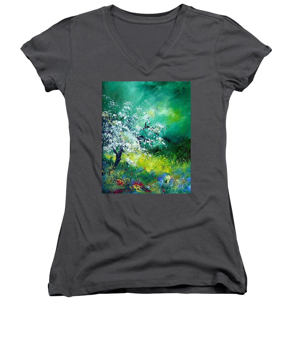 Flowers Women's V-Neck T-Shirt featuring the painting Spring by Pol Ledent