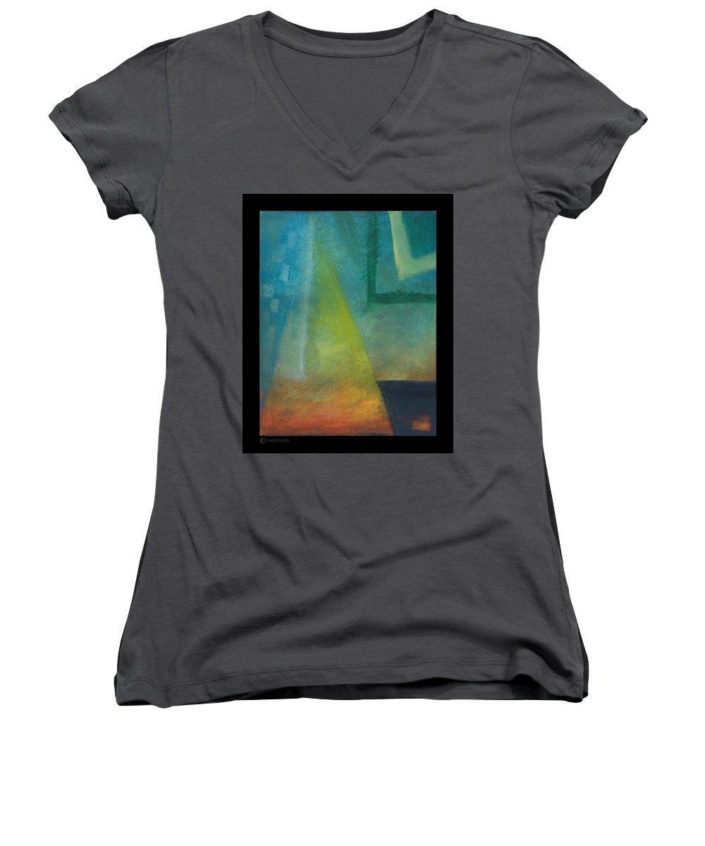 Sunset Women's V-Neck T-Shirt featuring the painting Sunset Sail by Tim Nyberg