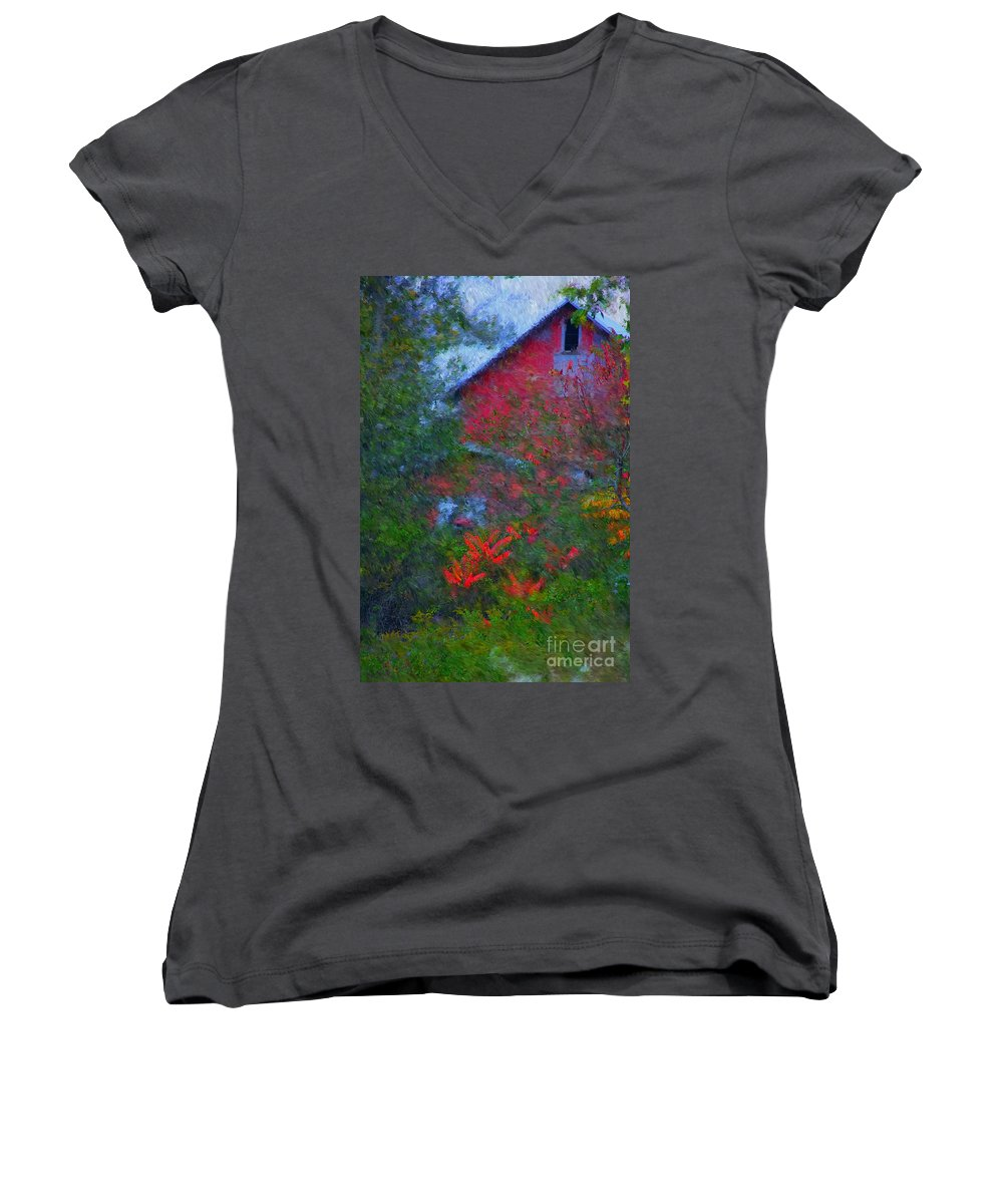 Digital Photo Women's V-Neck T-Shirt featuring the photograph The Barn by David Lane