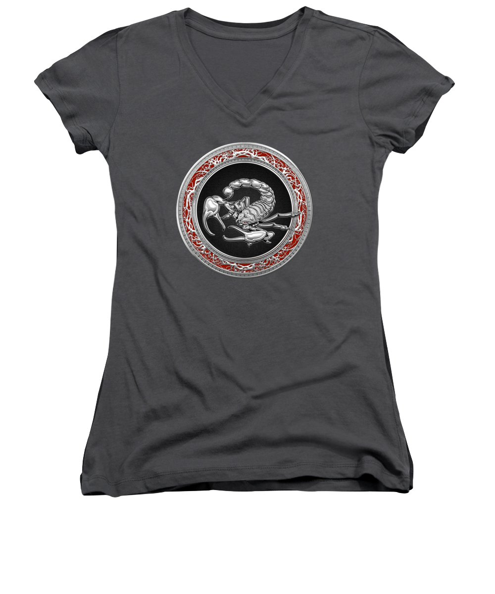 �treasure Trove � By Serge Averbukh Women's V-Neck featuring the photograph Treasure Trove - Sacred Silver Scorpion On Red by Serge Averbukh