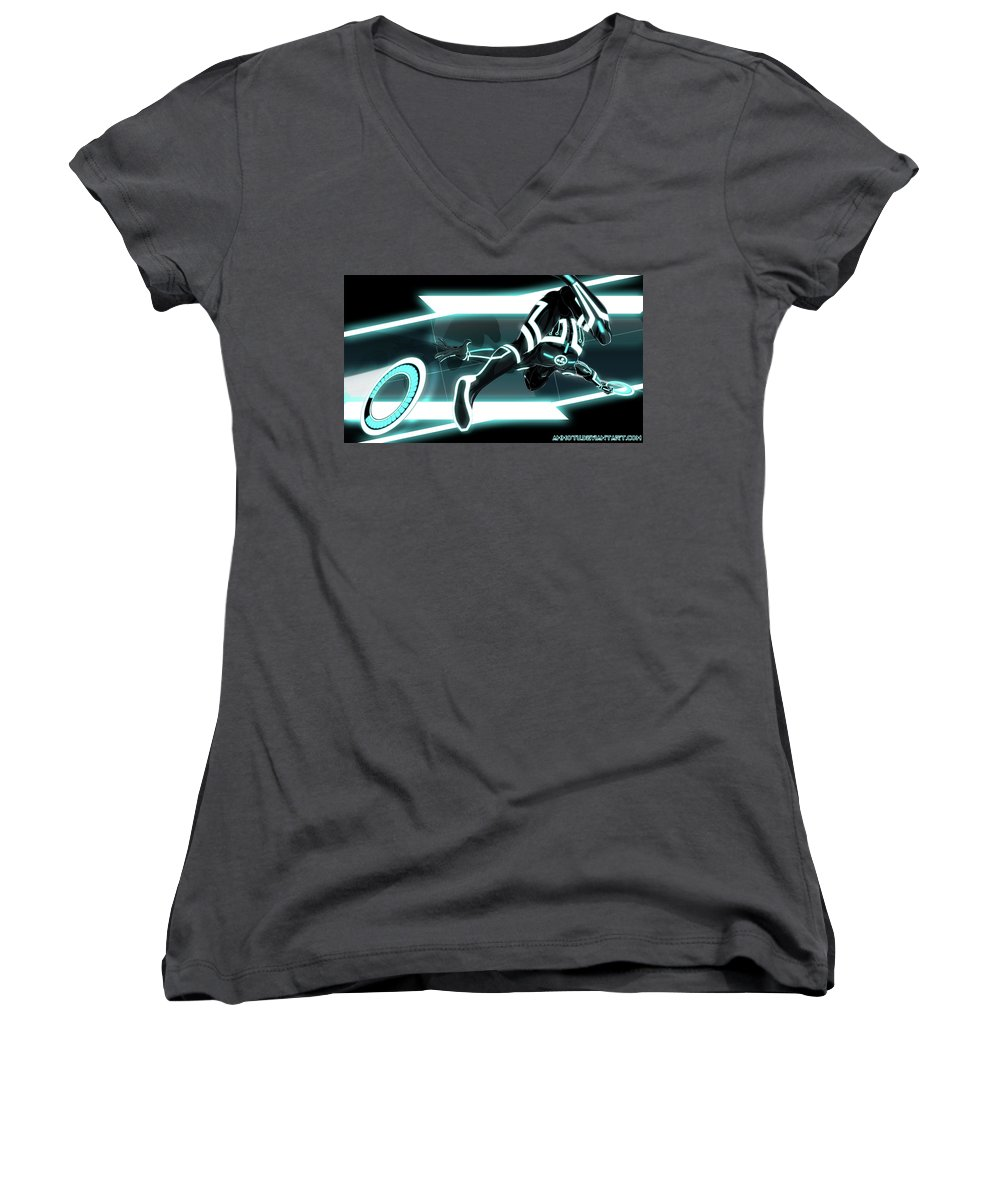 Tron Legacy Women's V-Neck featuring the digital art TRON Legacy by Maye Loeser