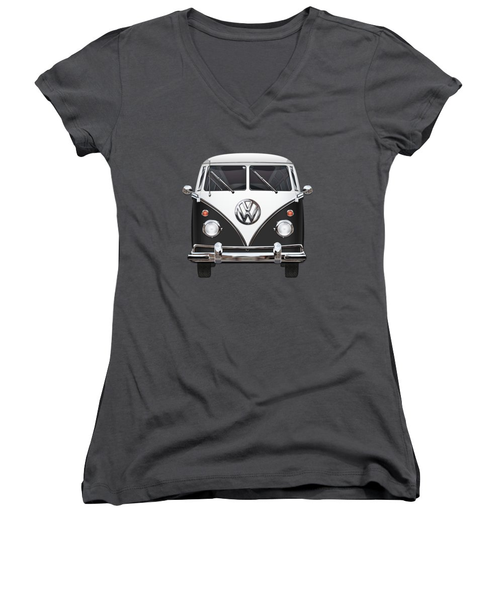 'volkswagen Type 2' Collection By Serge Averbukh Women's V-Neck T-Shirt featuring the photograph Volkswagen Type 2 - Black And White Volkswagen T 1 Samba Bus On Red by Serge Averbukh