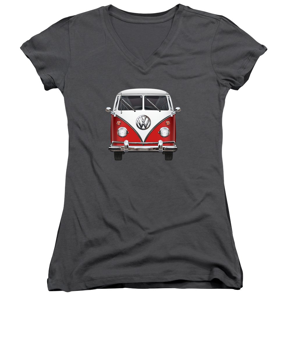 'volkswagen Type 2' Collection By Serge Averbukh Women's V-Neck T-Shirt (Junior Cut) featuring the photograph Volkswagen Type 2 - Red And White Volkswagen T 1 Samba Bus Over Green Canvas by Serge Averbukh