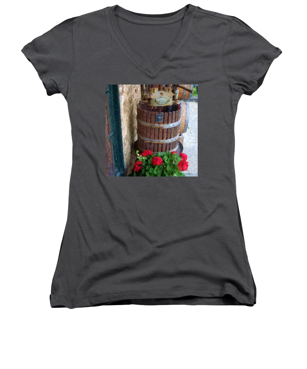 Geraniums Women's V-Neck T-Shirt featuring the photograph Wine And Geraniums by Debbi Granruth