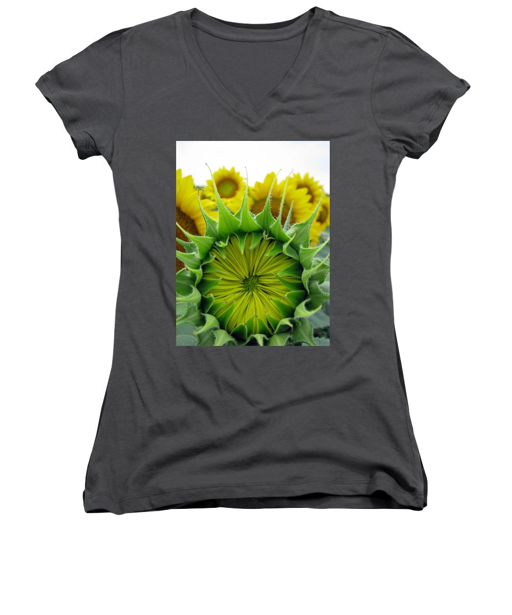 Sunflwoers Women's V-Neck (Athletic Fit) featuring the photograph Sunflower Series by Amanda Barcon