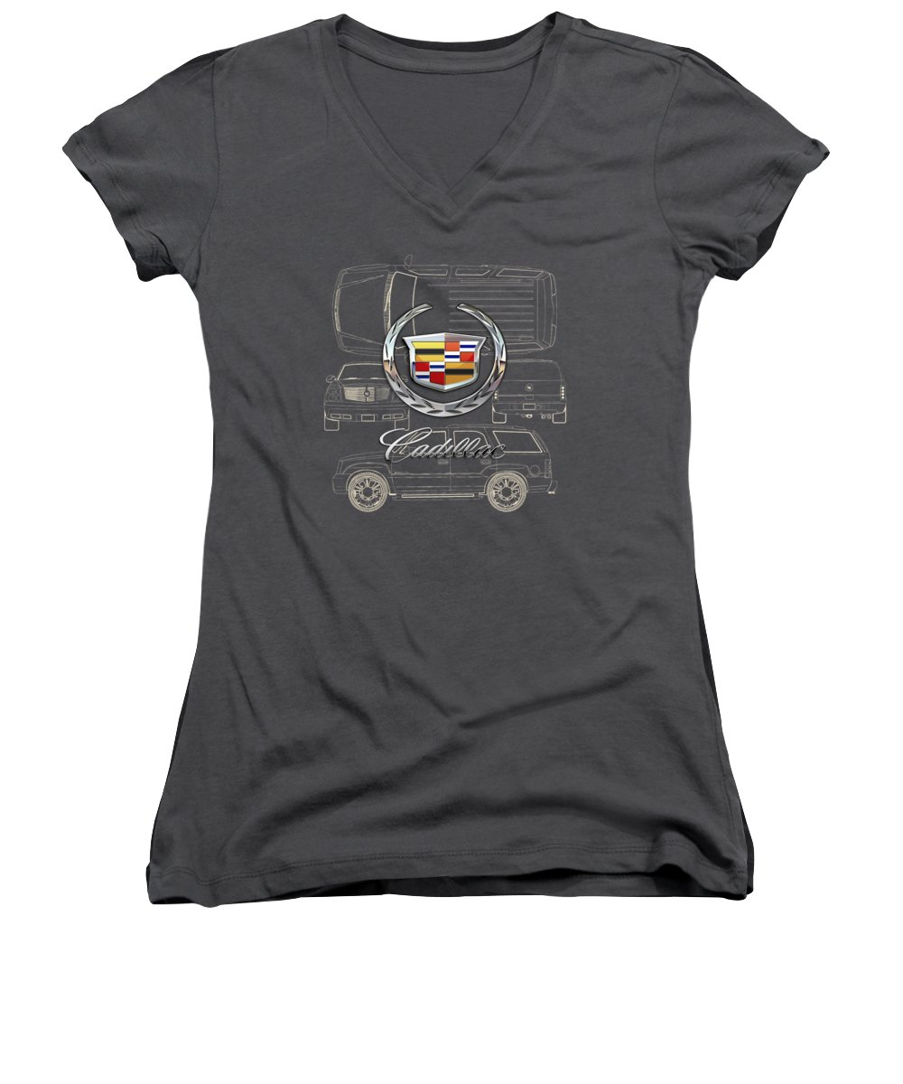 'wheels Of Fortune' By Serge Averbukh Women's V-Neck featuring the photograph Cadillac 3 D Badge Over Cadillac Escalade Blueprint by Serge Averbukh