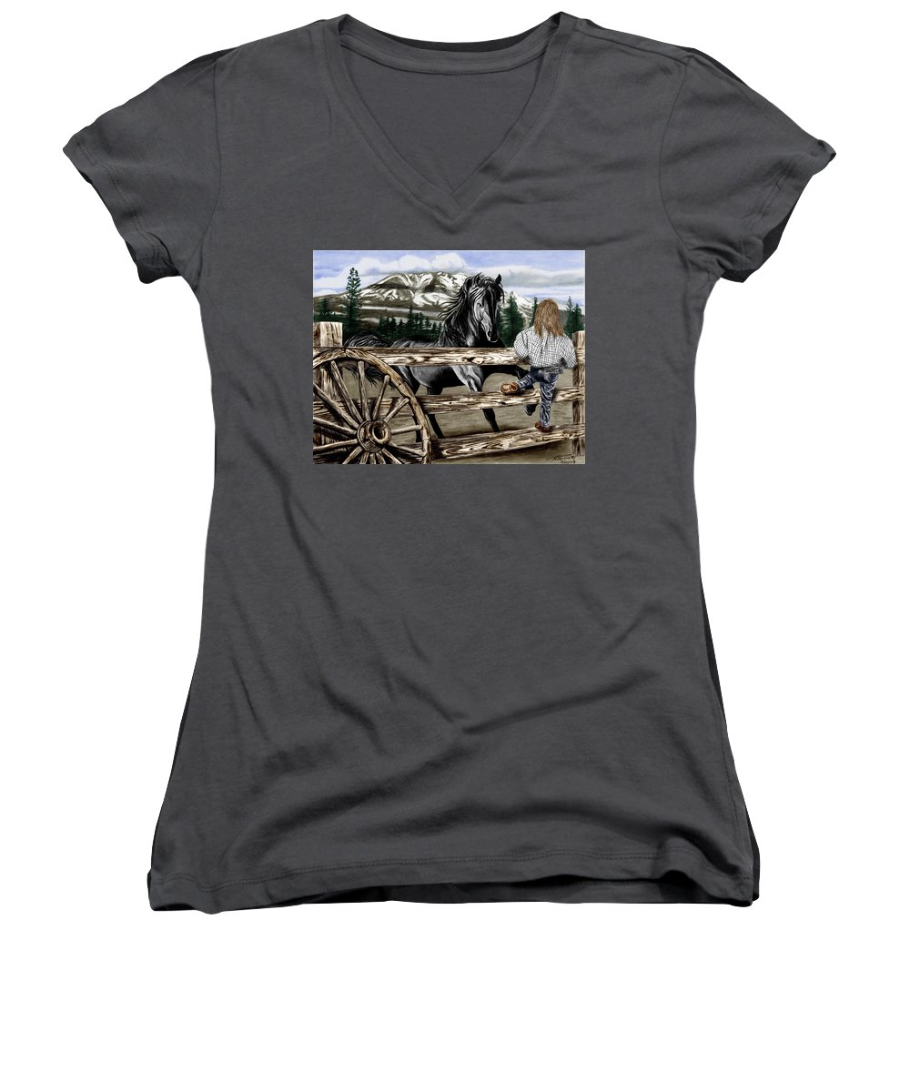 Hello Girl Women's V-Neck T-Shirt featuring the drawing Hello Girl by Peter Piatt
