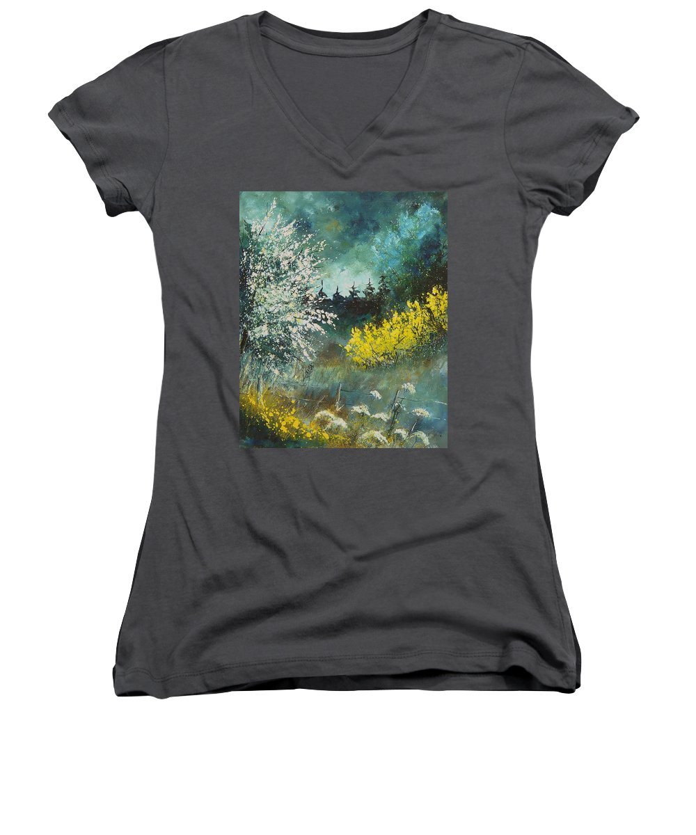 Spring Women's V-Neck (Athletic Fit) featuring the painting Spring by Pol Ledent