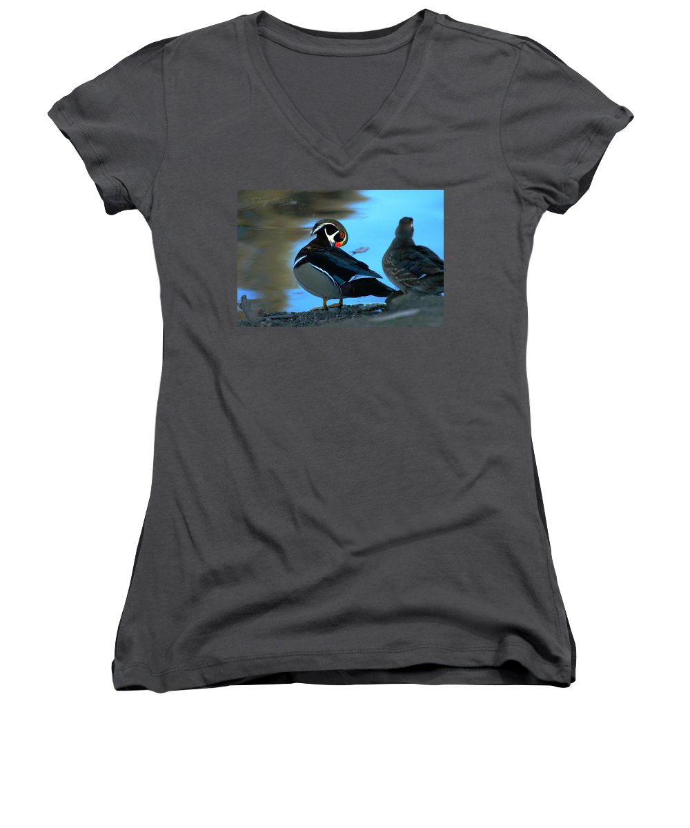 Clay Women's V-Neck (Athletic Fit) featuring the photograph Wood Duck by Clayton Bruster