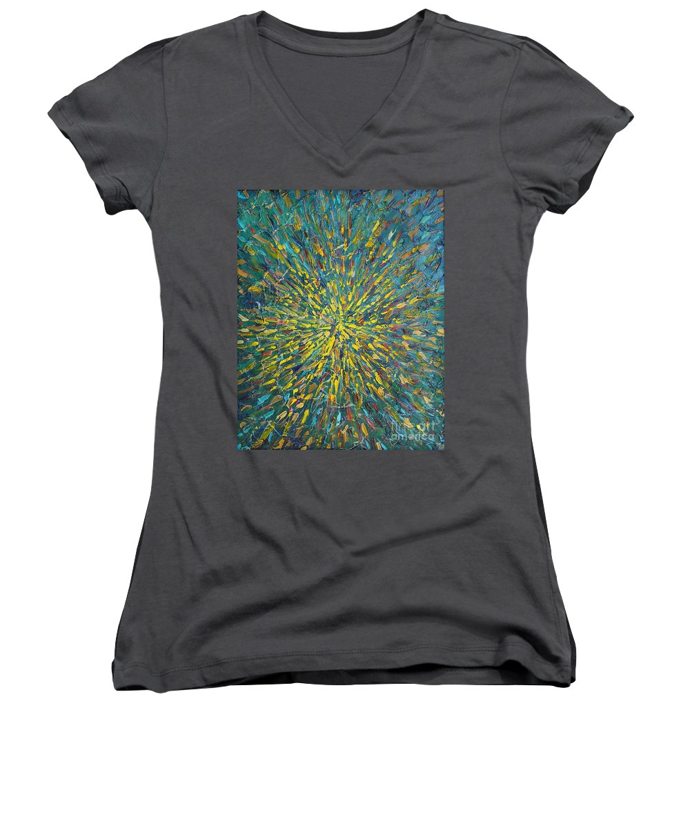 Abstract Women's V-Neck T-Shirt featuring the painting Untitled by Dean Triolo