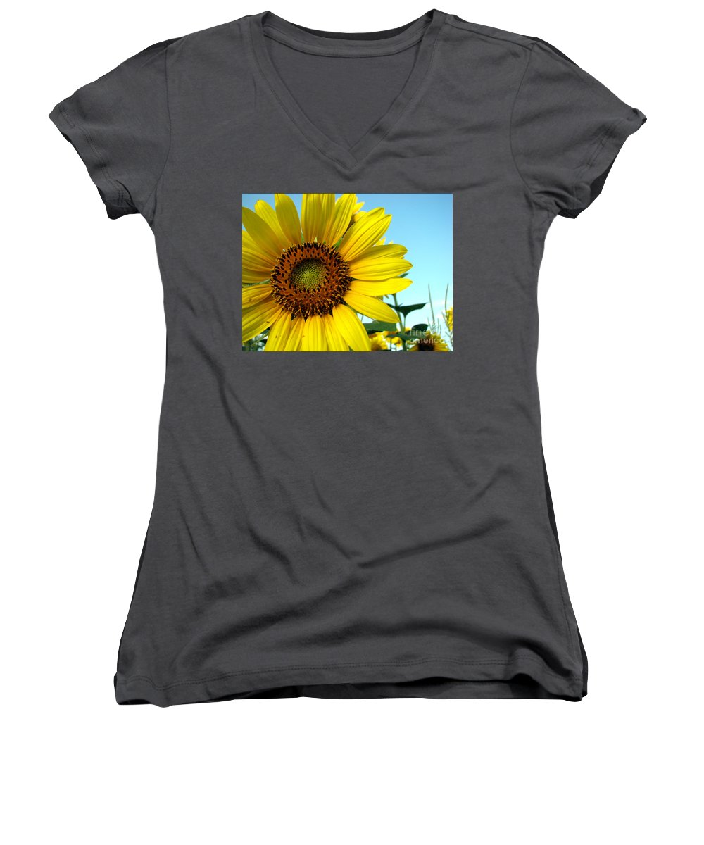 Sunflowers Women's V-Neck (Athletic Fit) featuring the photograph Sunflower Series by Amanda Barcon