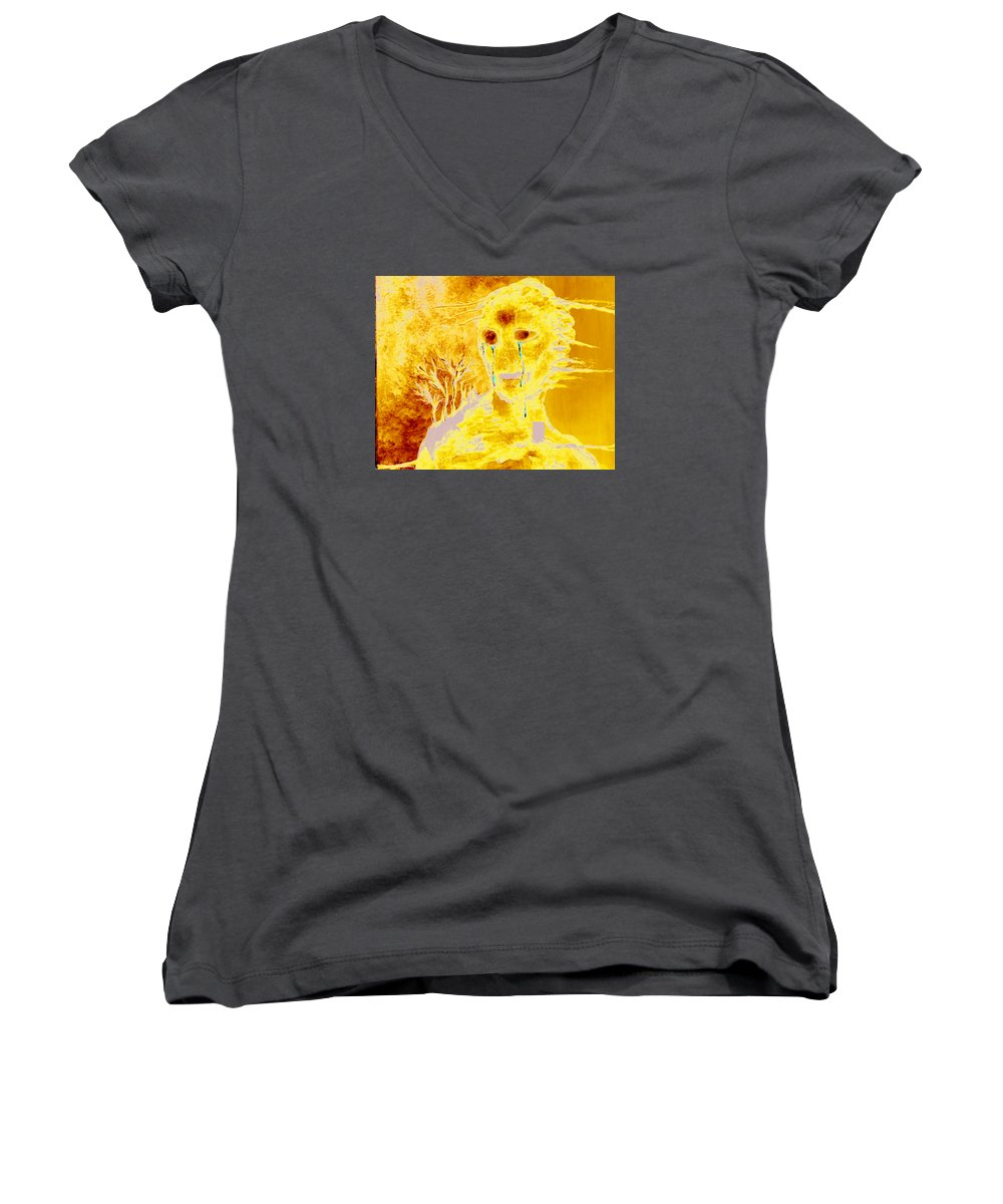 Blue Women's V-Neck T-Shirt featuring the painting Untitled by Veronica Jackson