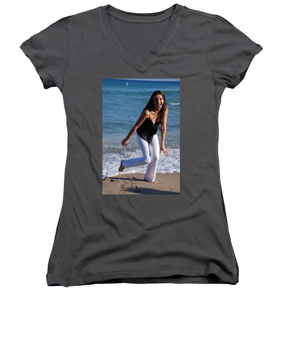 Sea Scape Women's V-Neck T-Shirt featuring the photograph Gisele by Rob Hans