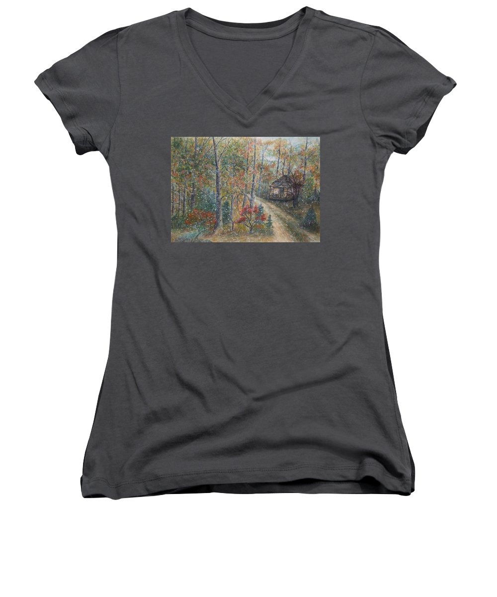 Country Road; Old House; Trees Women's V-Neck (Athletic Fit) featuring the painting A Bend In The Road by Ben Kiger