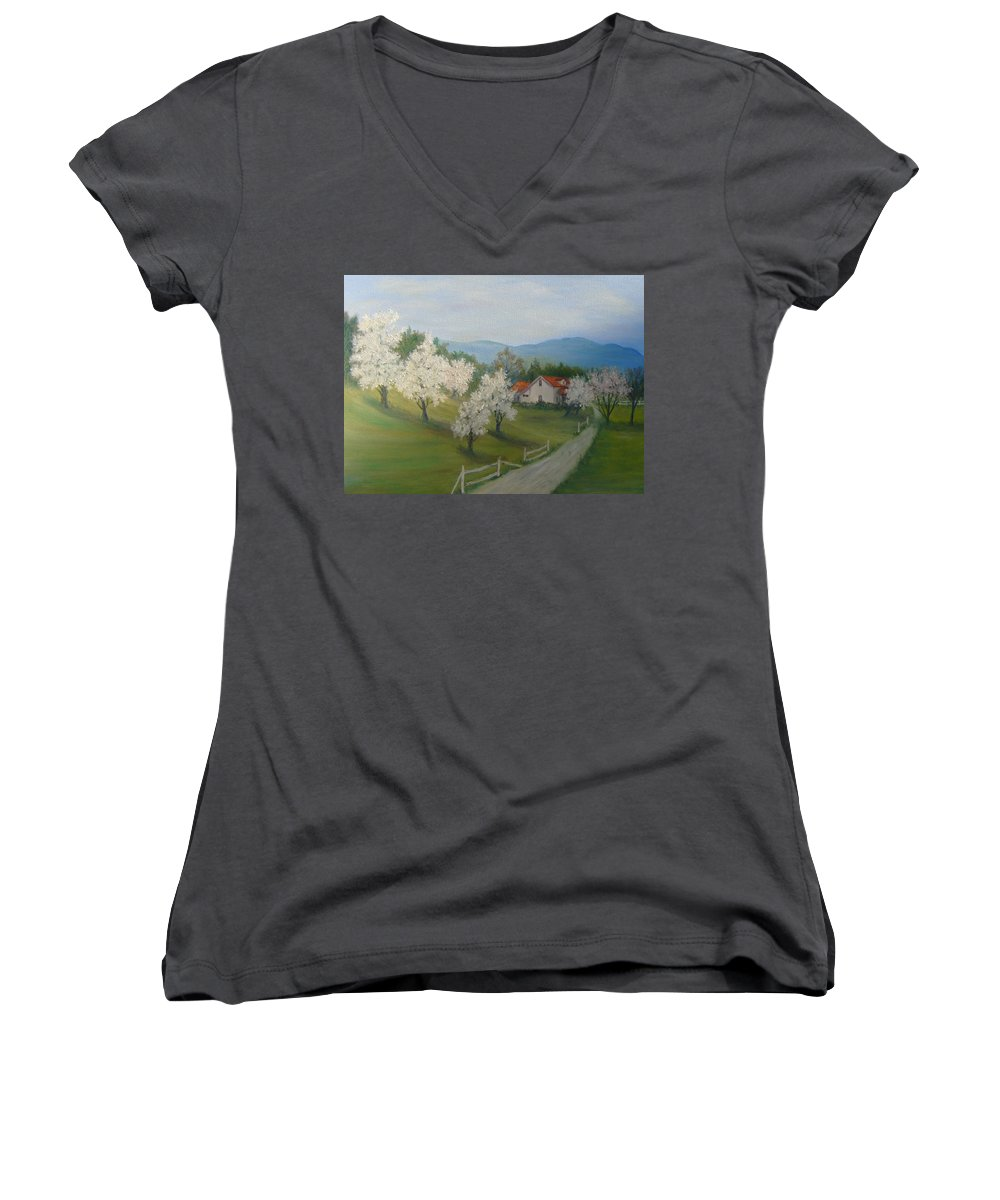 Landscape; Spring; Mountains; Country Road; House Women's V-Neck T-Shirt featuring the painting A Day In The Country by Ben Kiger