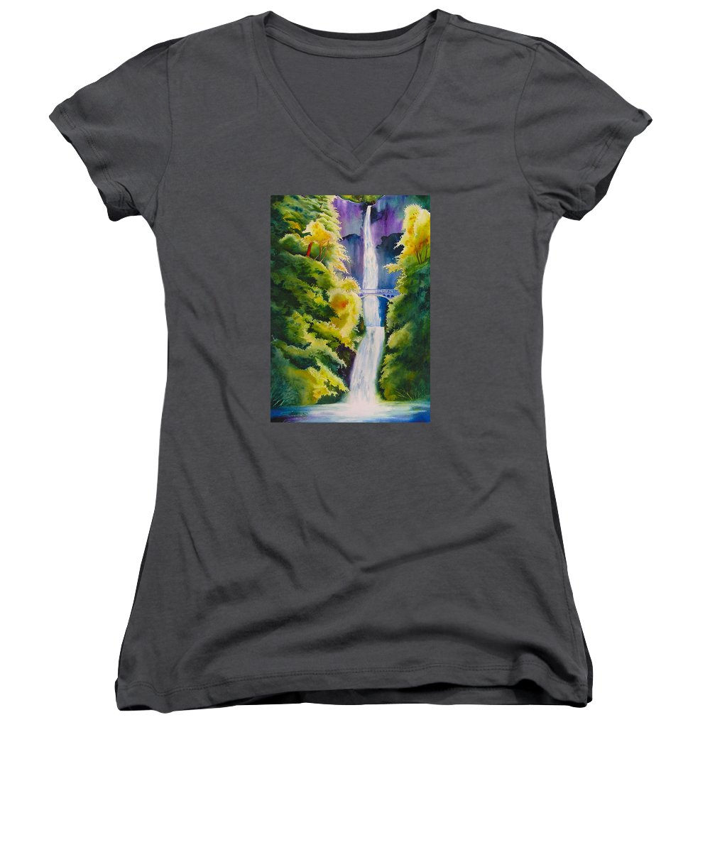 Waterfall Women's V-Neck (Athletic Fit) featuring the painting A Favorite Place by Karen Stark