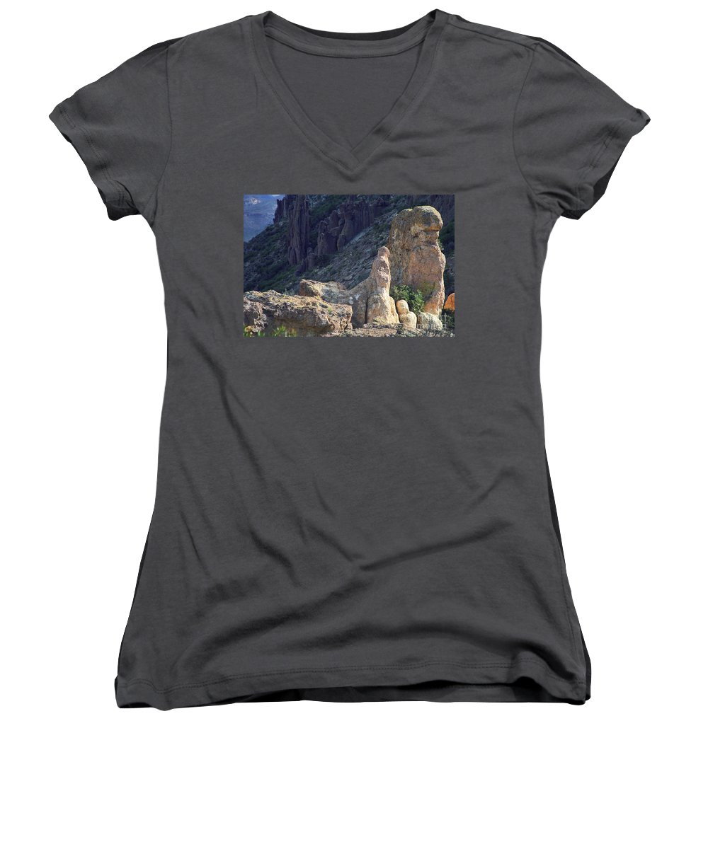 Rock Formations Women's V-Neck (Athletic Fit) featuring the photograph A Hard Ride by Kathy McClure