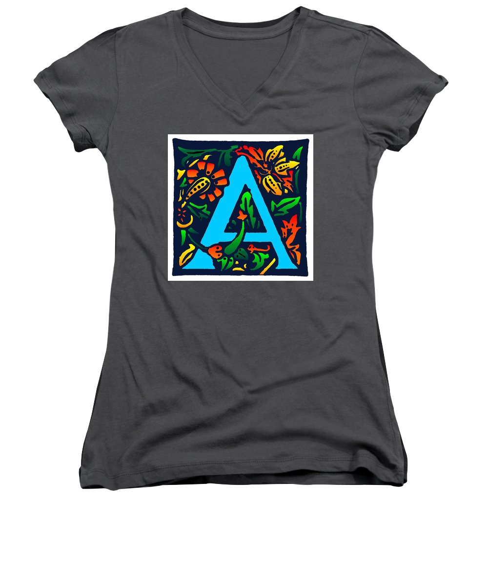 Alphabet Women's V-Neck (Athletic Fit) featuring the digital art A In Blue by Kathleen Sepulveda