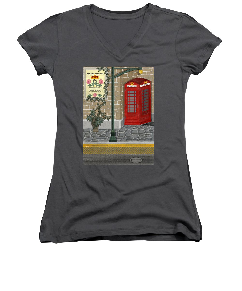 Cityscape Women's V-Neck T-Shirt featuring the painting A Merry Old Corner In London by Anne Norskog