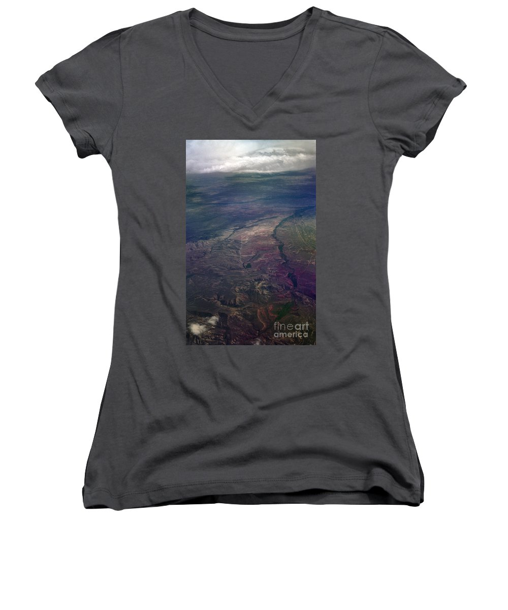 Aerial Photography Women's V-Neck T-Shirt featuring the photograph A Midwestern Landscape by Richard Rizzo
