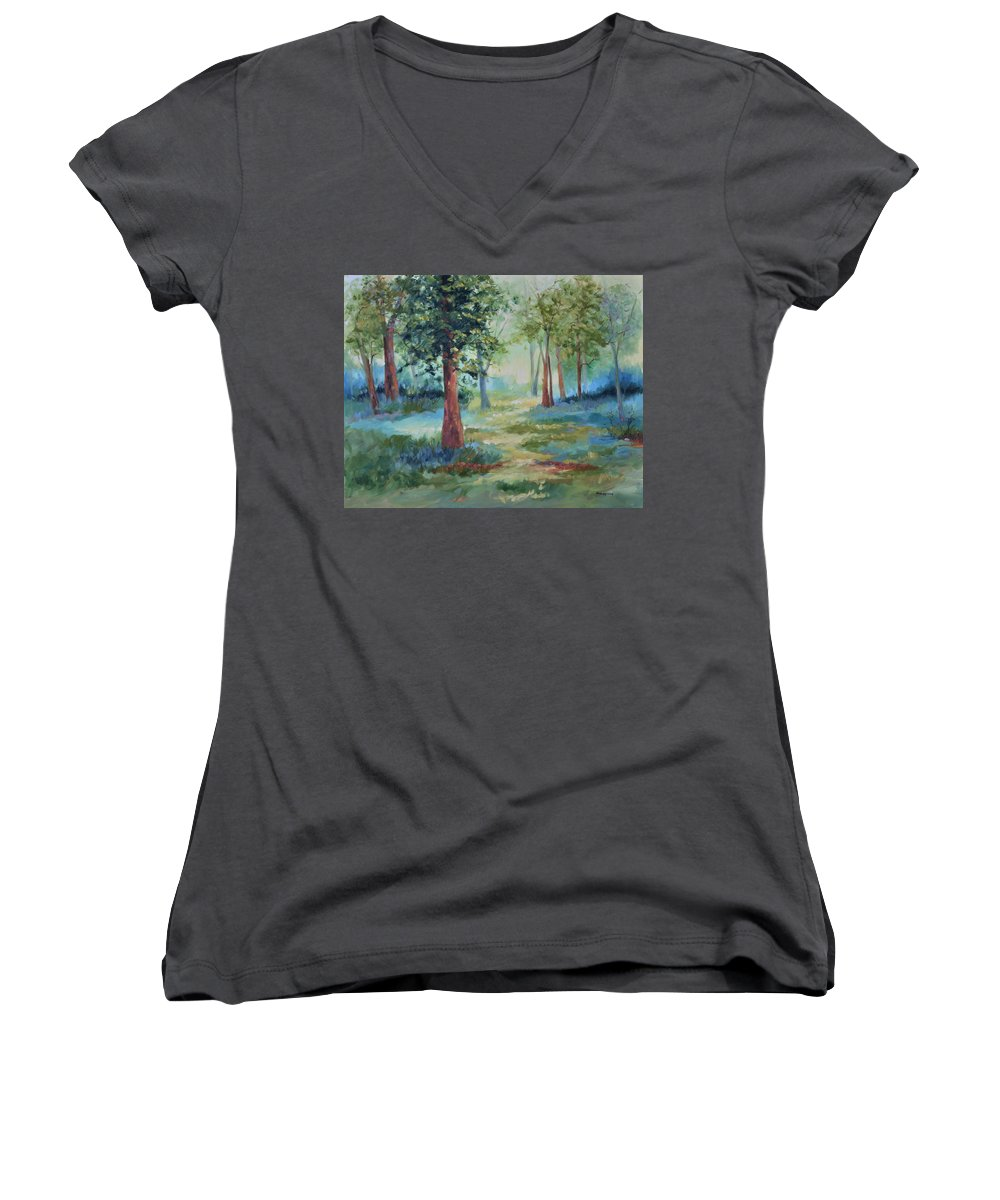 Trees Women's V-Neck T-Shirt featuring the painting A Path Not Taken by Ginger Concepcion