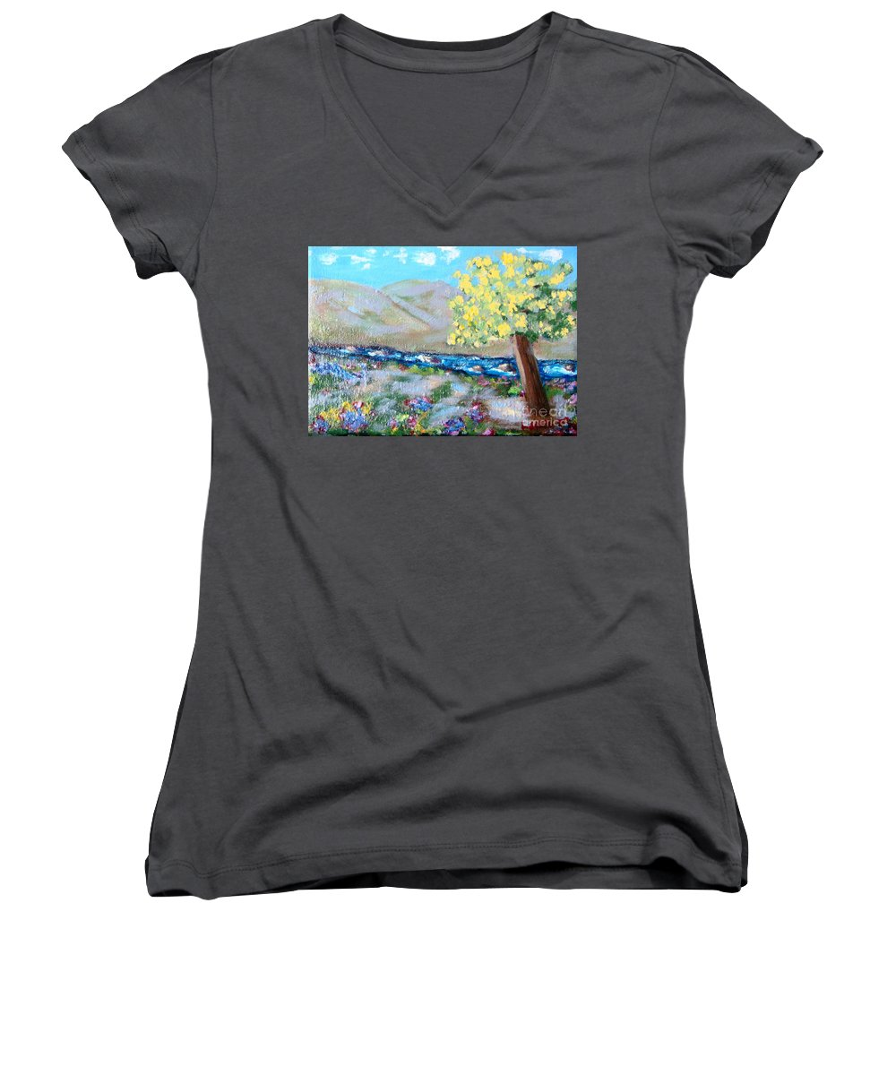 Landscapes Women's V-Neck (Athletic Fit) featuring the painting A Quiet Place by Laurie Morgan