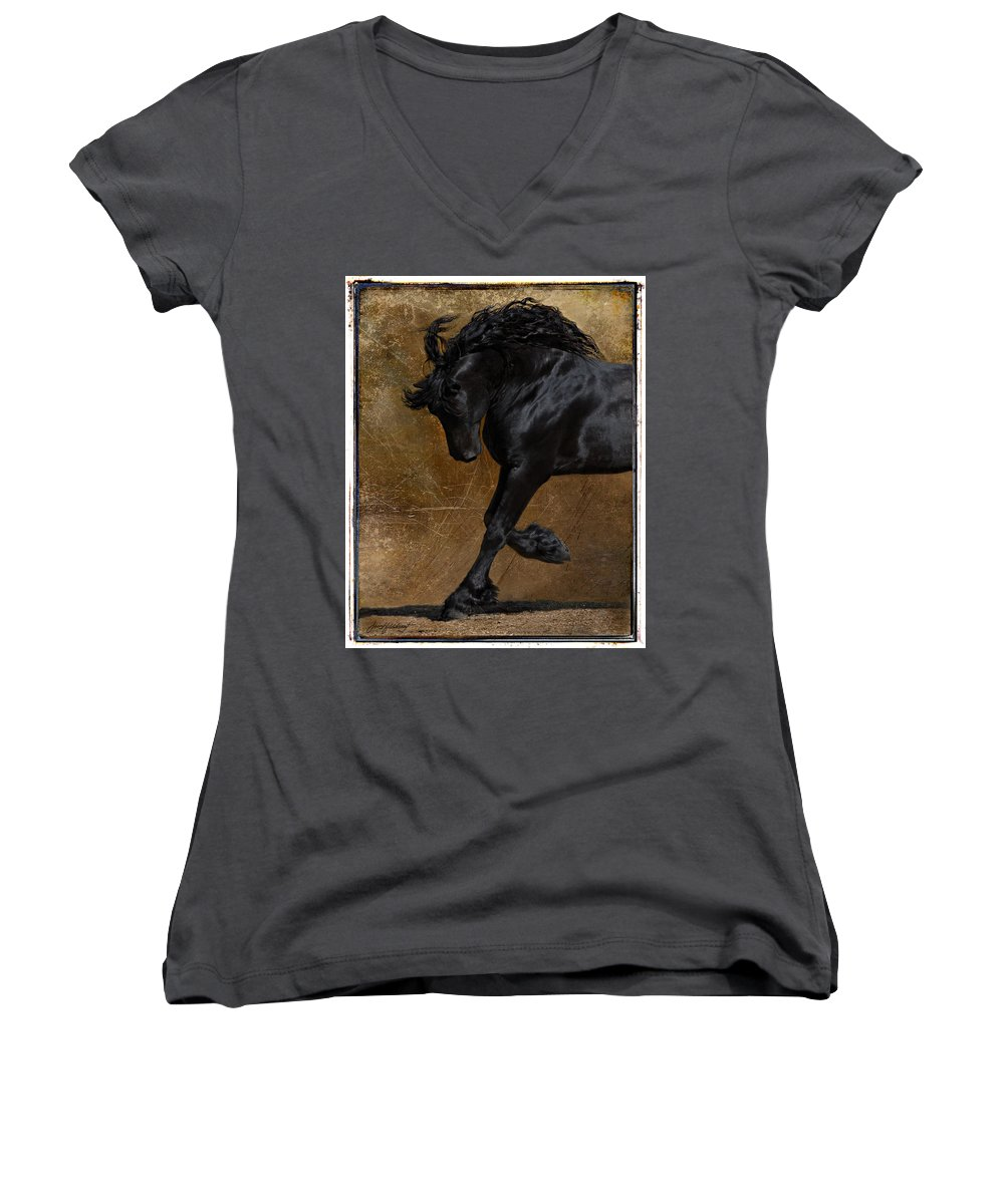 Horse Women's V-Neck T-Shirt featuring the photograph A Regal Bow by Jean Hildebrant